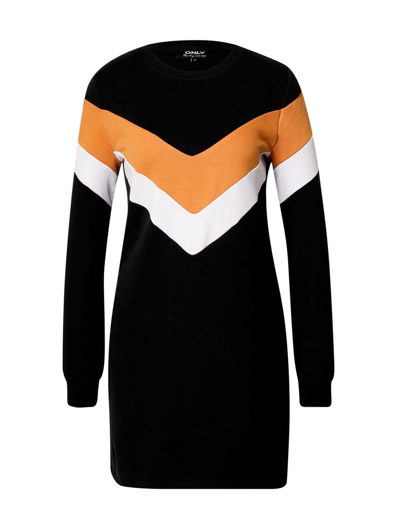ONLY Šaty 'Dakota'  černá / oranžová / bílá