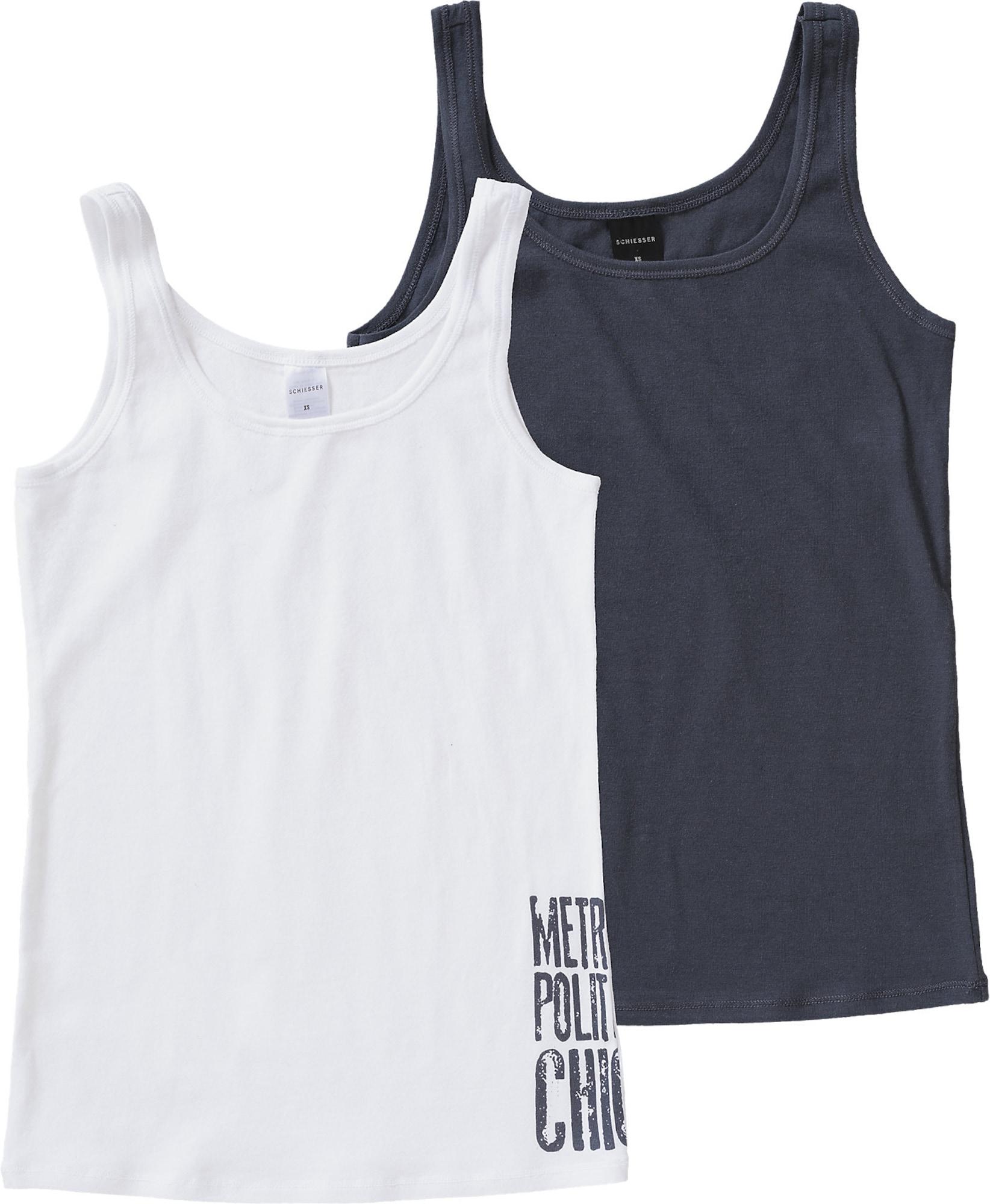 SCHIESSER Apatiniai marškinėliai balta / nakties mėlyna