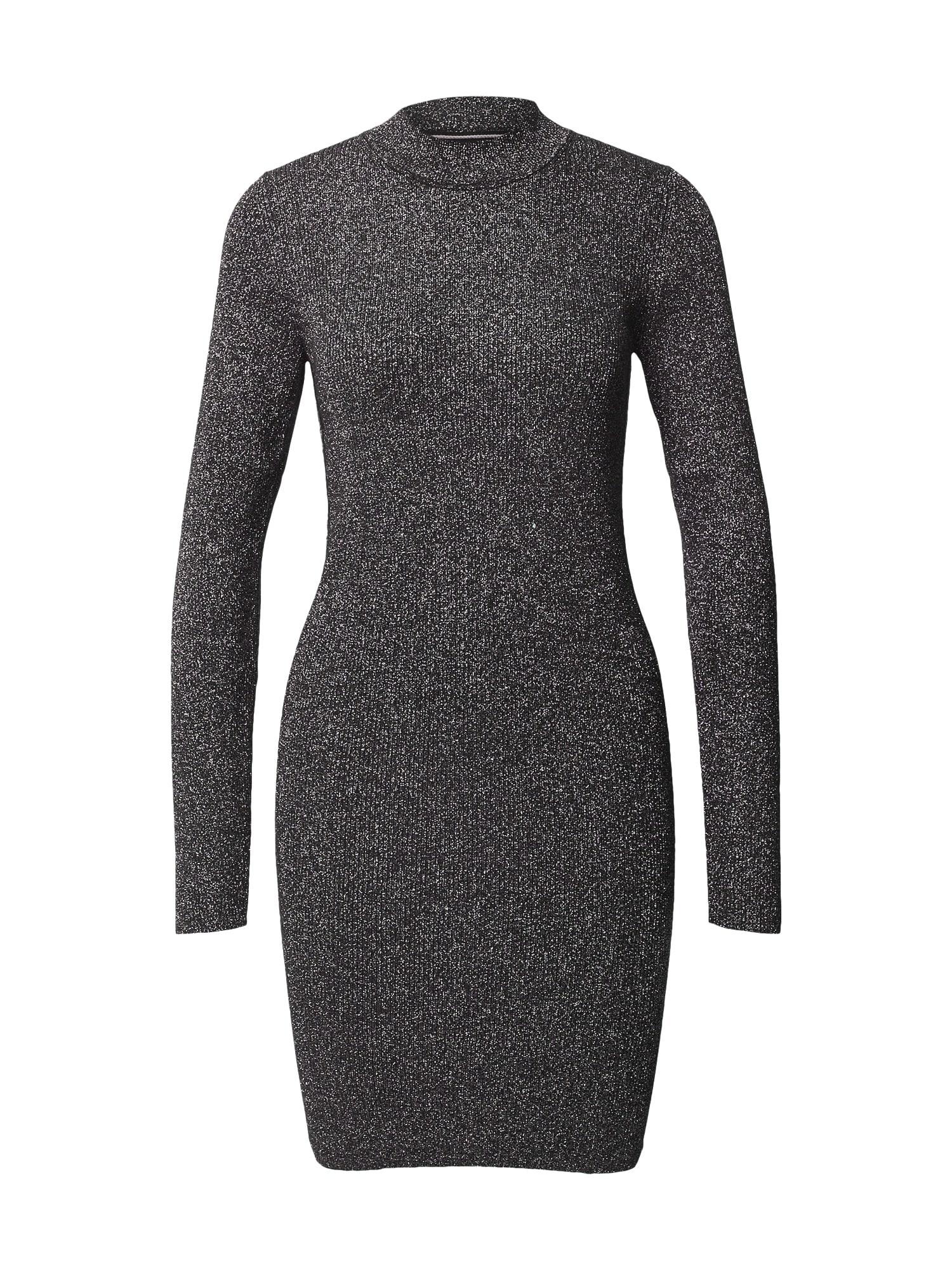 Calvin Klein Jeans Úpletové šaty  stříbrná / černá