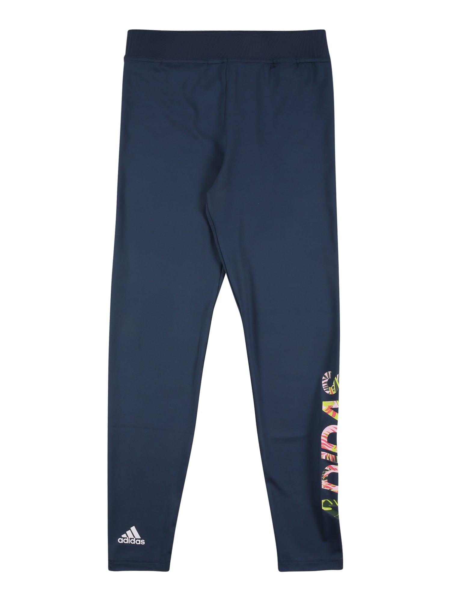 ADIDAS PERFORMANCE Sportinės kelnės tamsiai mėlyna / balta / rožių spalva / neoninė geltona / neoninė rožinė
