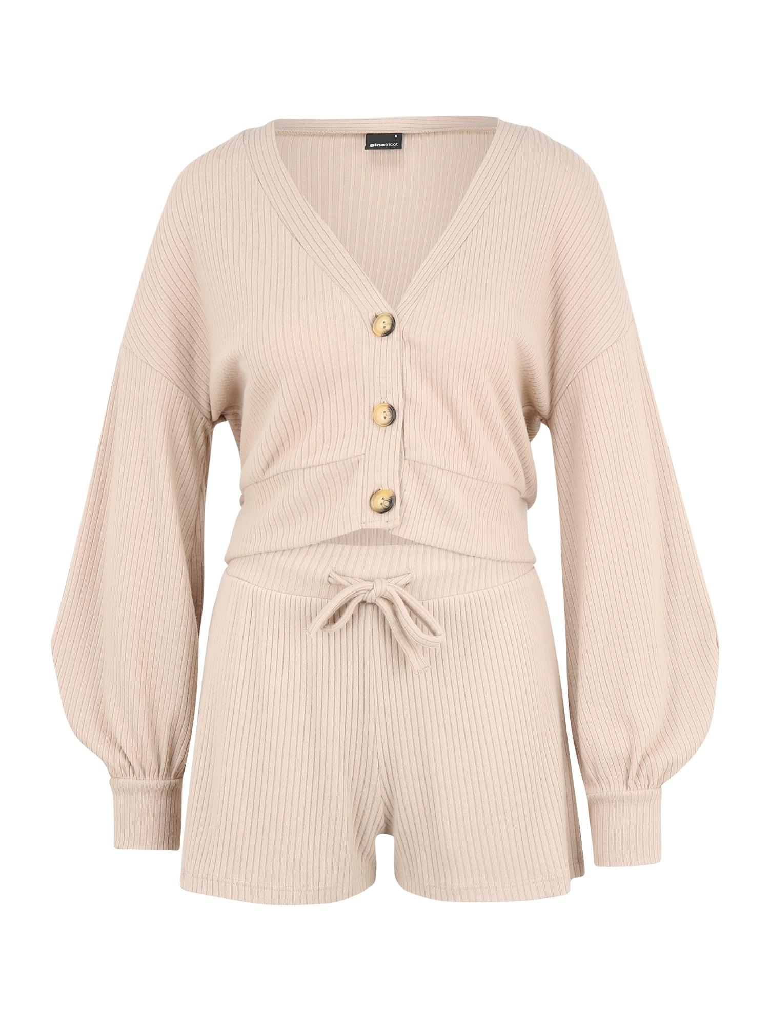 Gina Tricot (Petite) Moteriškas kostiumėlis su kelnėmis 'Sophie' smėlio
