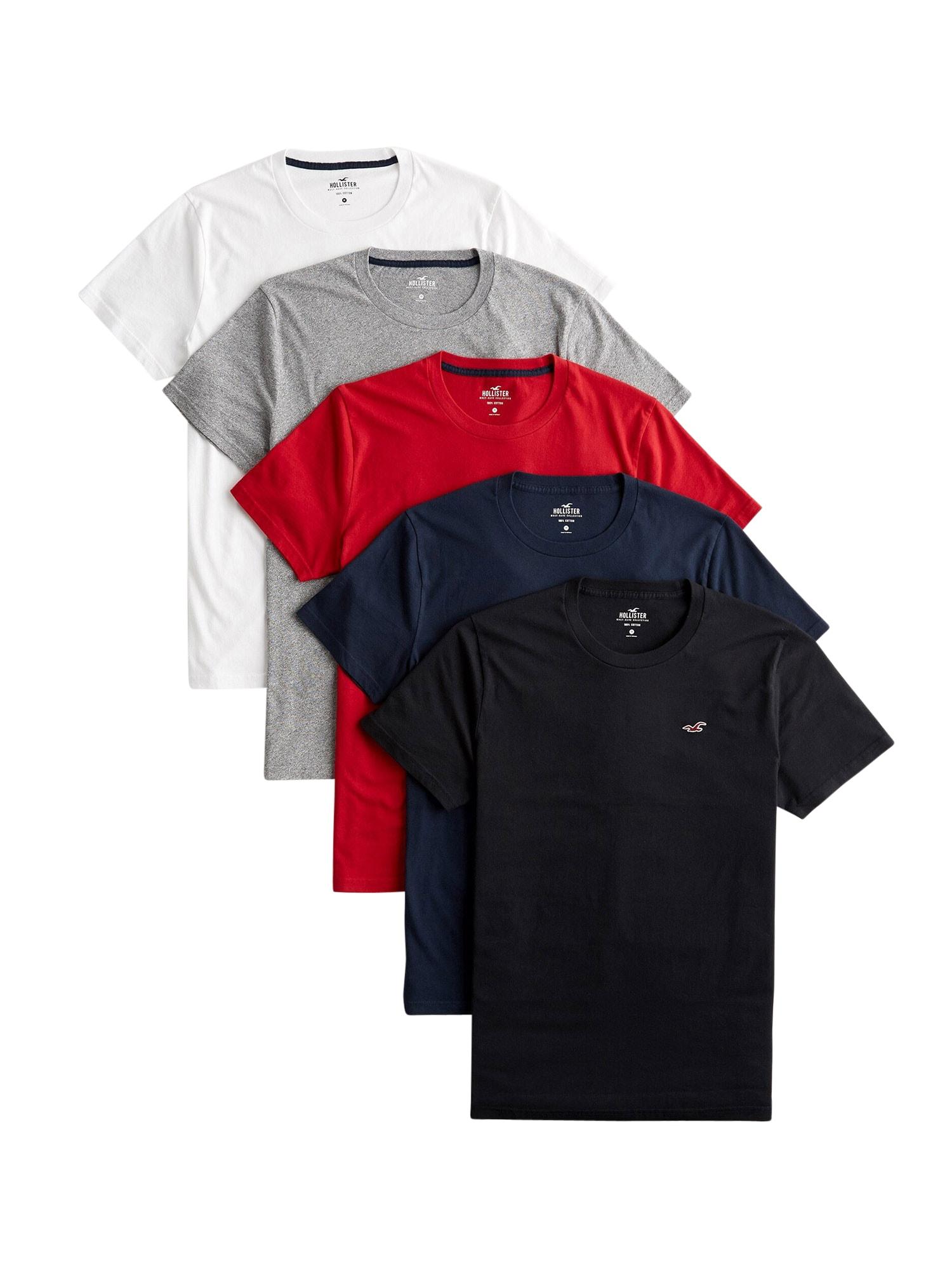 HOLLISTER Marškinėliai pilka / juoda / balta / mišrios spalvos