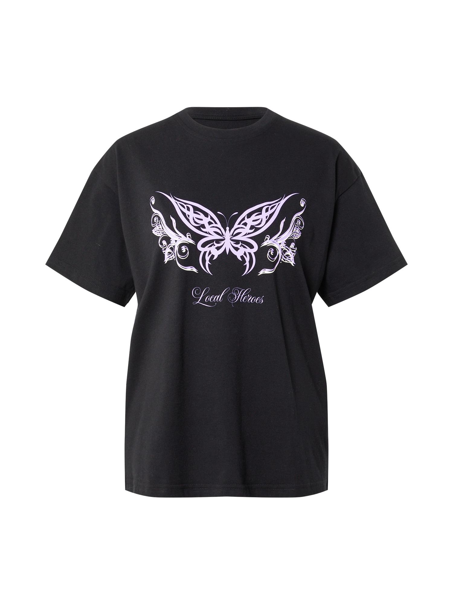 LOCAL HEROES Marškinėliai juoda / šviesiai violetinė