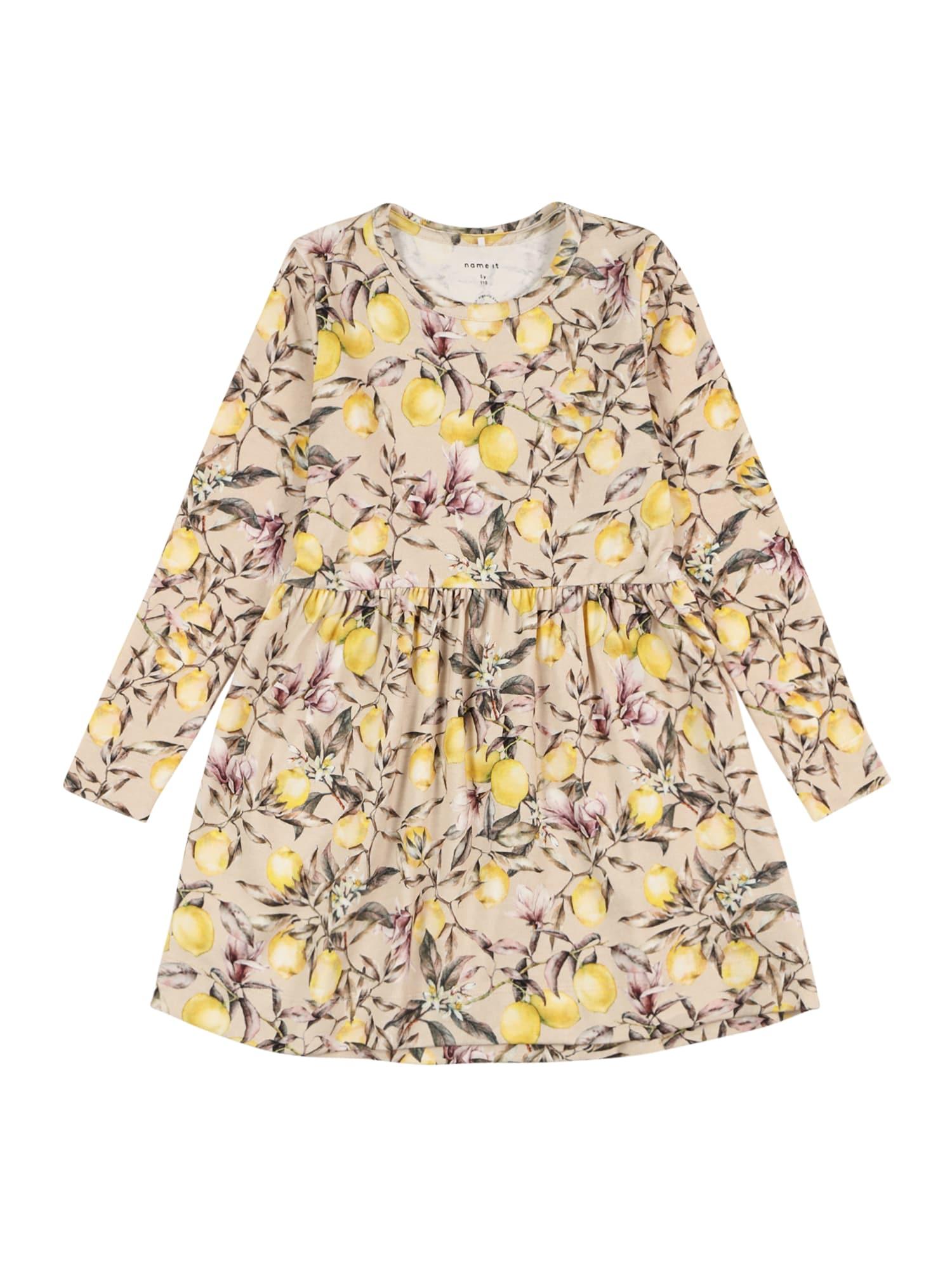 NAME IT Suknelė 'NMFDANSY' ryškiai rožinė spalva / smėlio / geltona