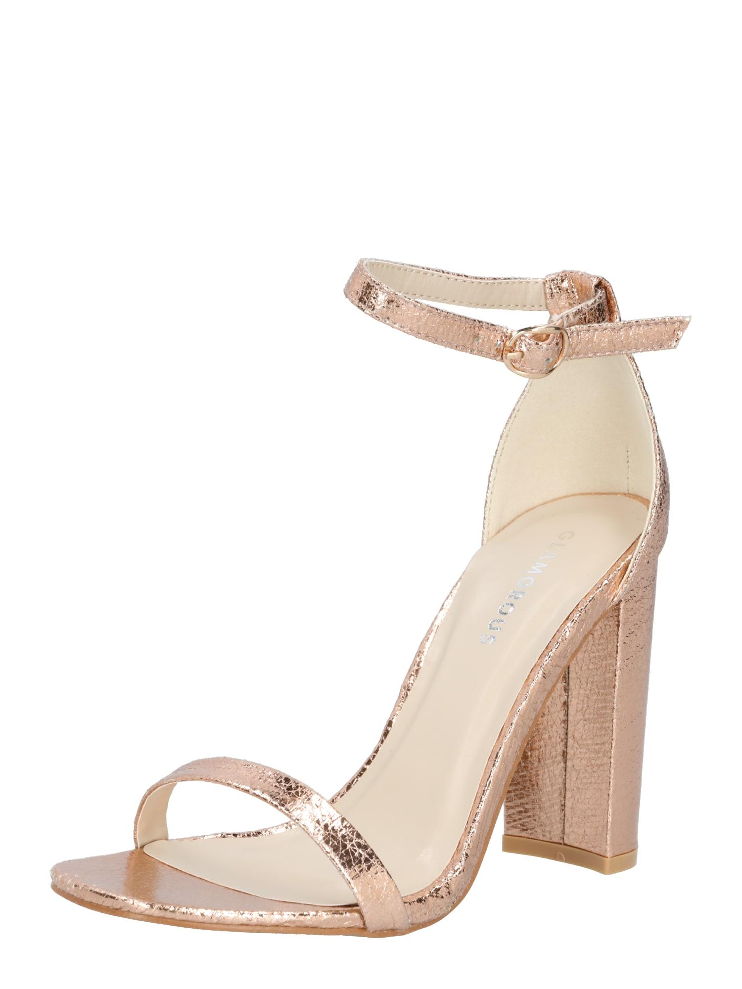 GLAMOROUS Páskové sandály  růžově zlatá