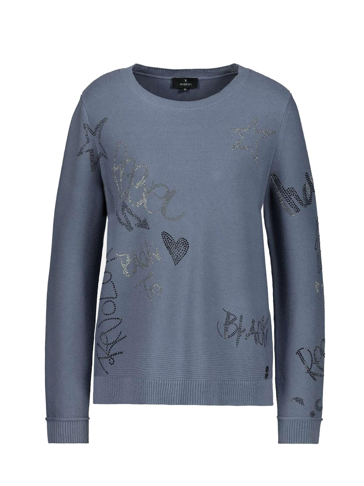monari Megztinis mėlyna dūmų spalva / juoda / sidabrinė