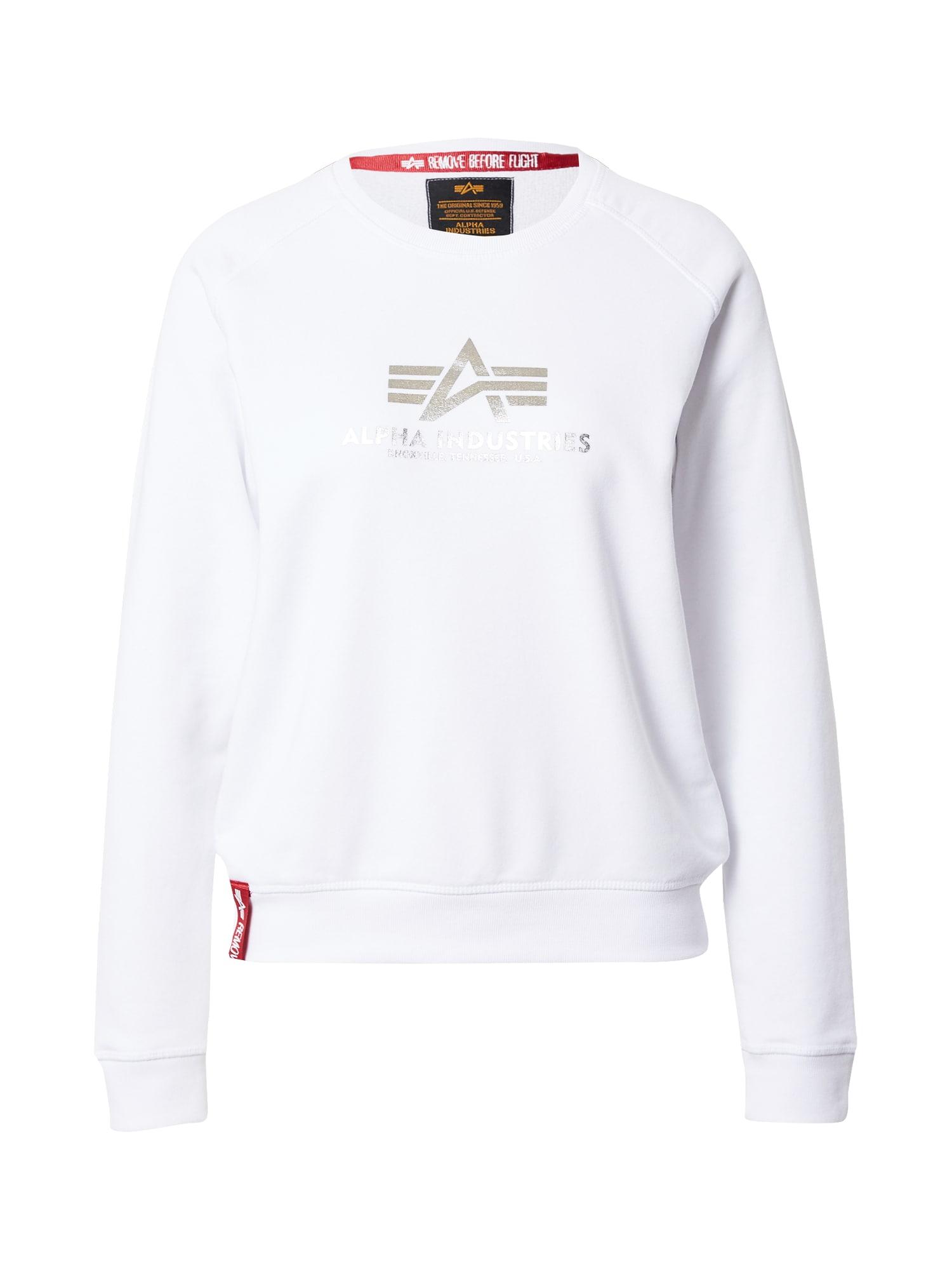 ALPHA INDUSTRIES Megztinis be užsegimo balta / sidabrinė / raudona
