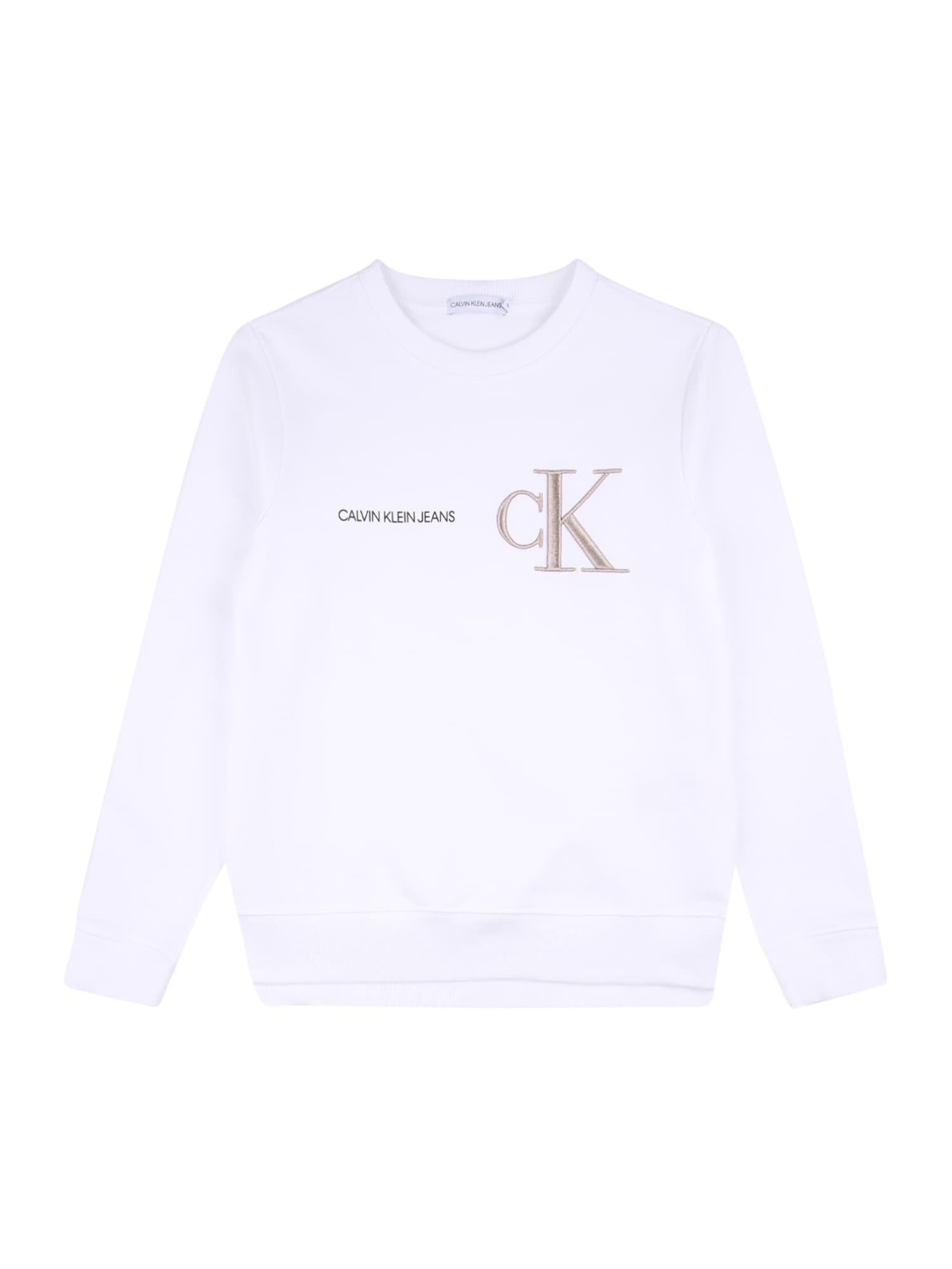 Calvin Klein Jeans Megztinis be užsegimo balta / nebalintos drobės spalva / juoda