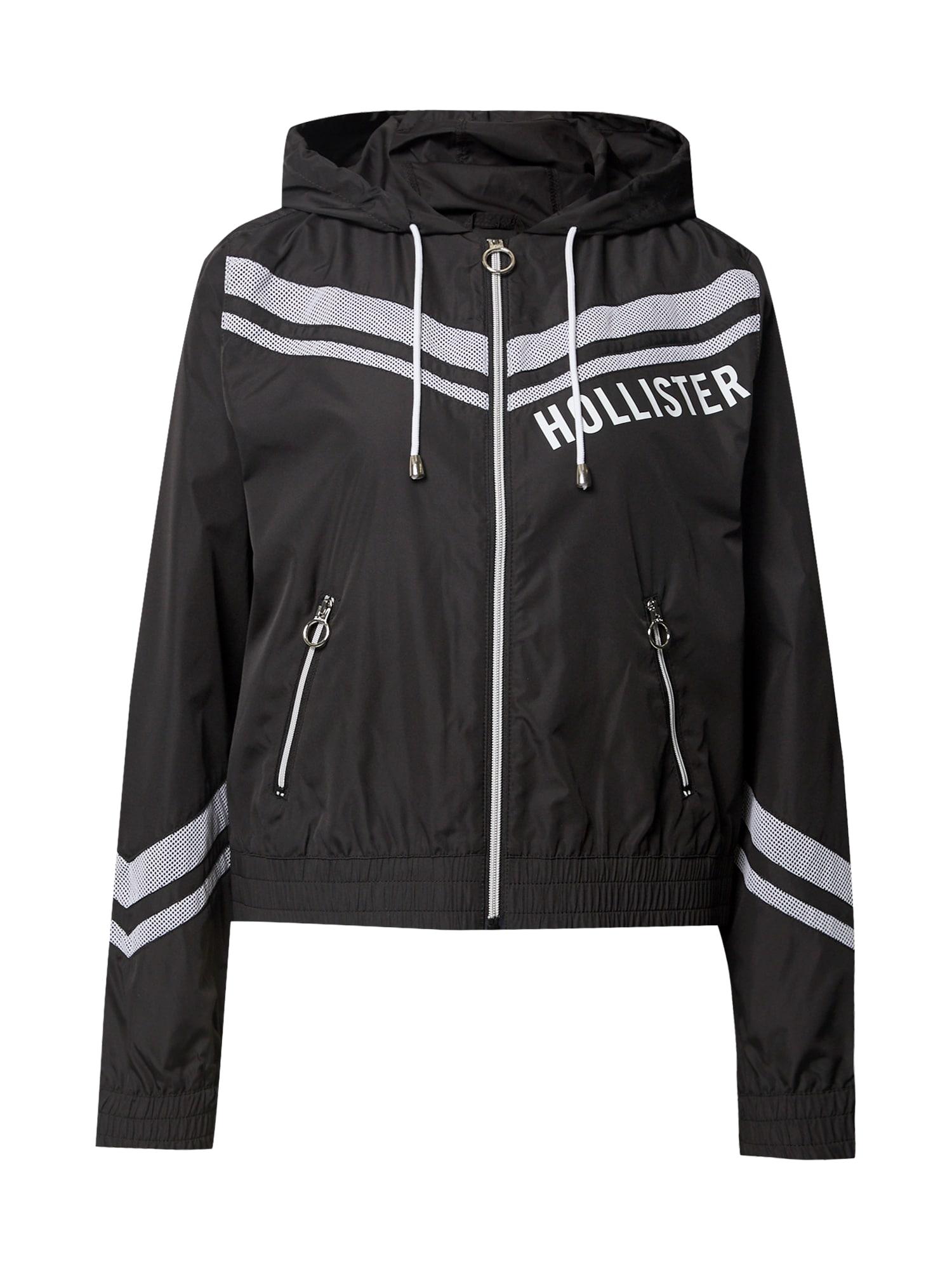 HOLLISTER Přechodná bunda  černá / bílá