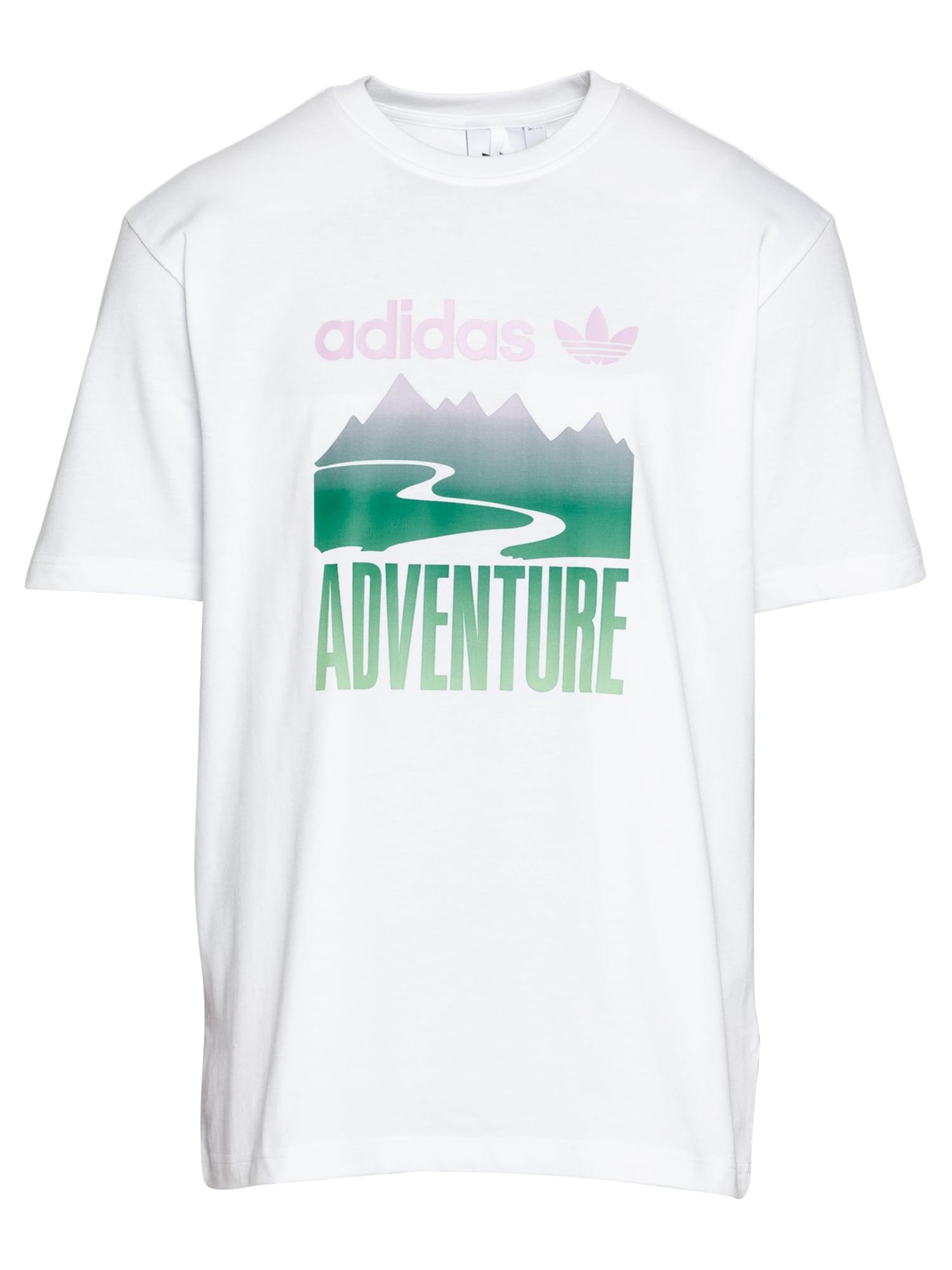 ADIDAS ORIGINALS Marškinėliai 'Adventure Mountain' balta / žalia / purpurinė
