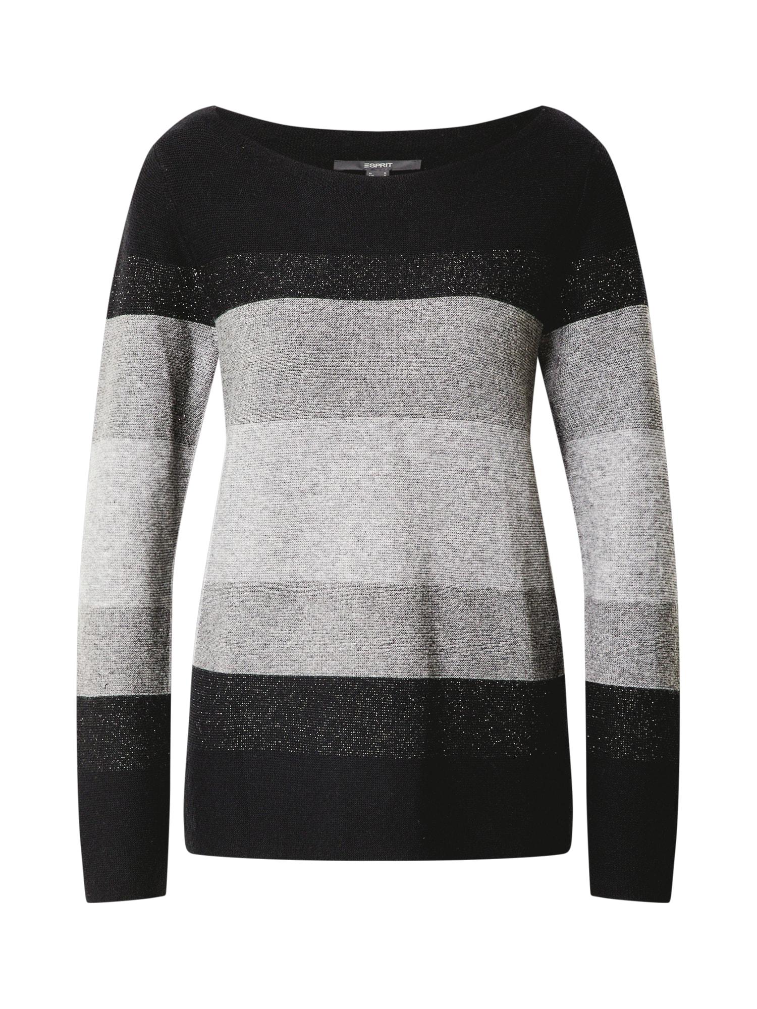 Esprit Collection Megztinis juoda / pilka / šviesiai pilka