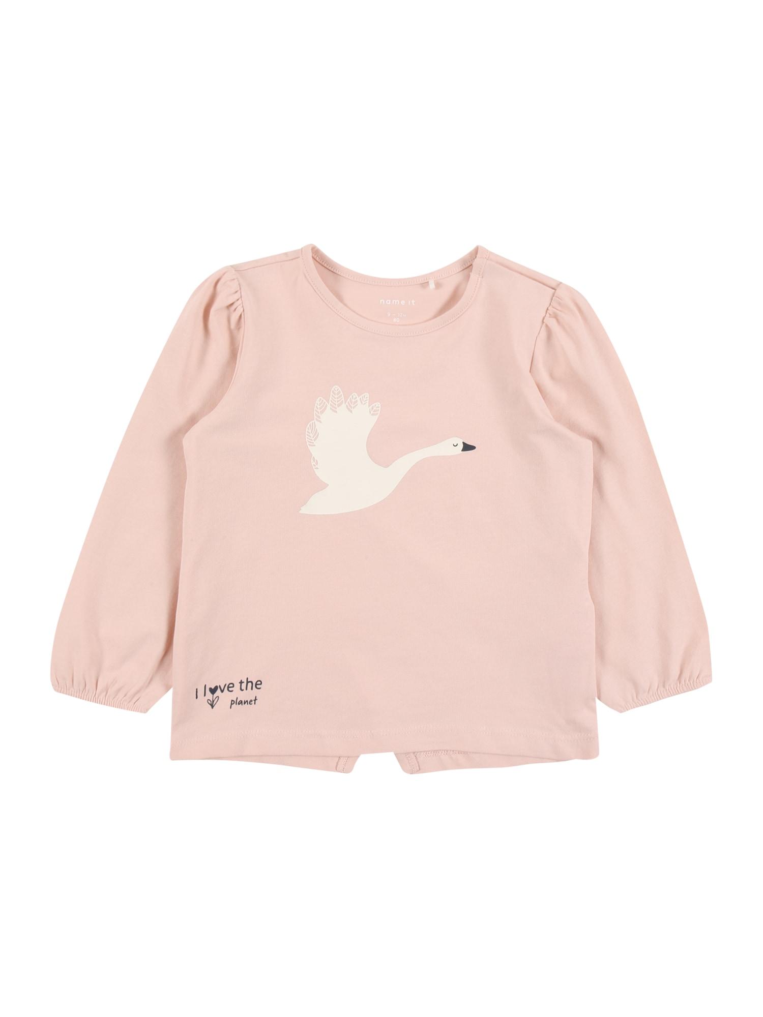 NAME IT Marškinėliai 'Bonnie' balta / pastelinė rožinė / juoda