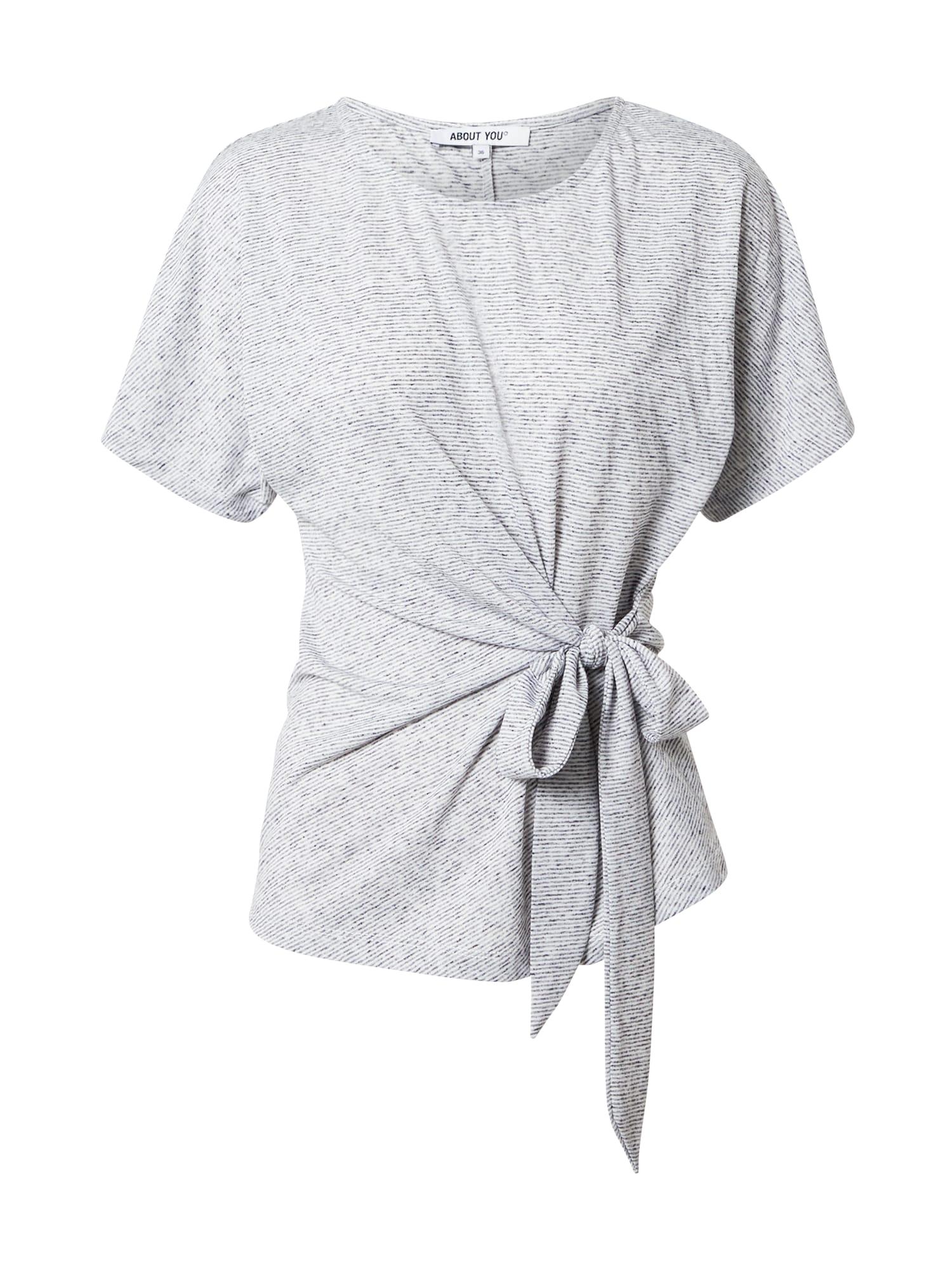 ABOUT YOU Marškinėliai 'Faline' pilka / balta