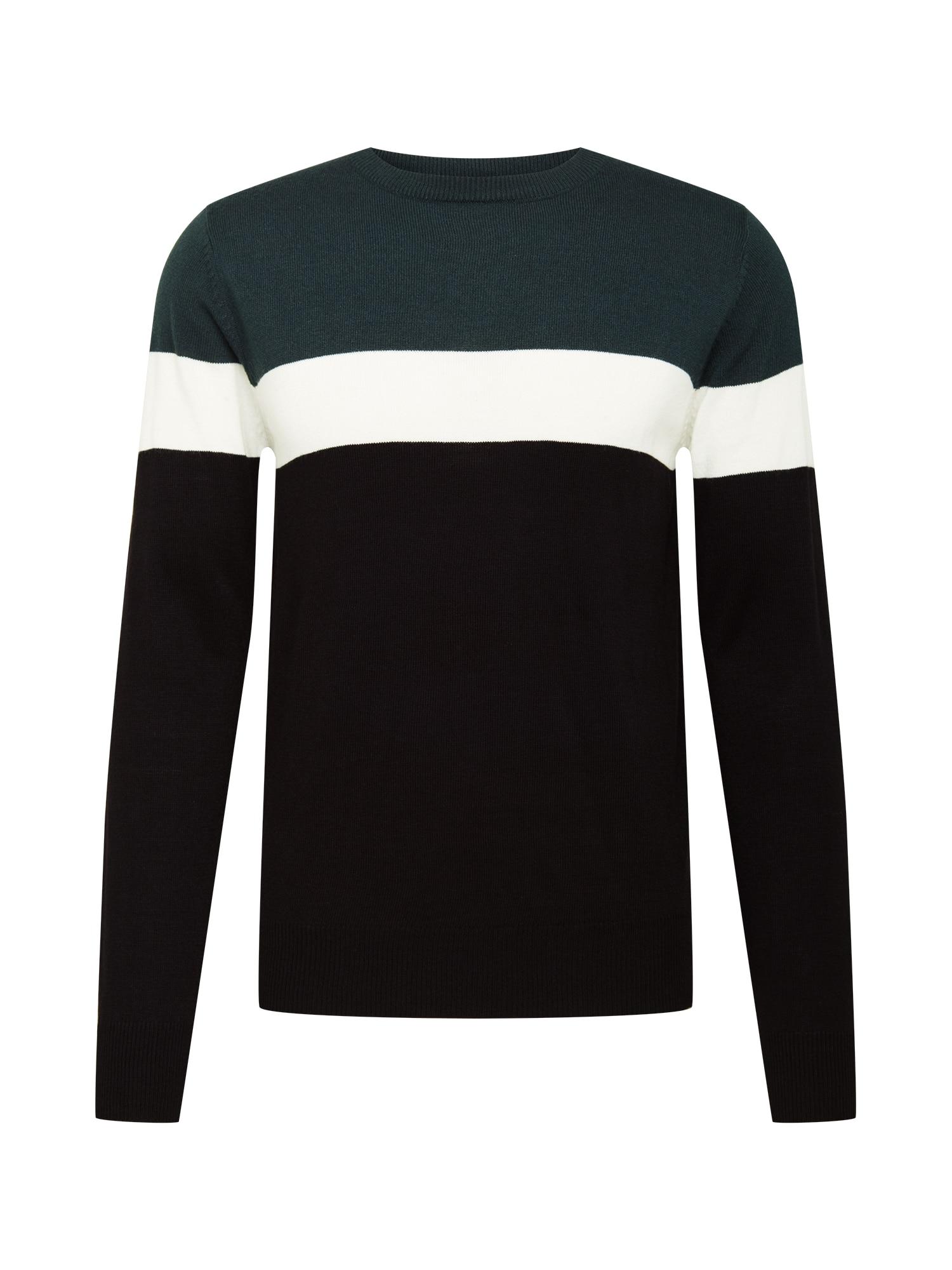 BRAVE SOUL Megztinis tamsiai žalia / juoda / balkšva