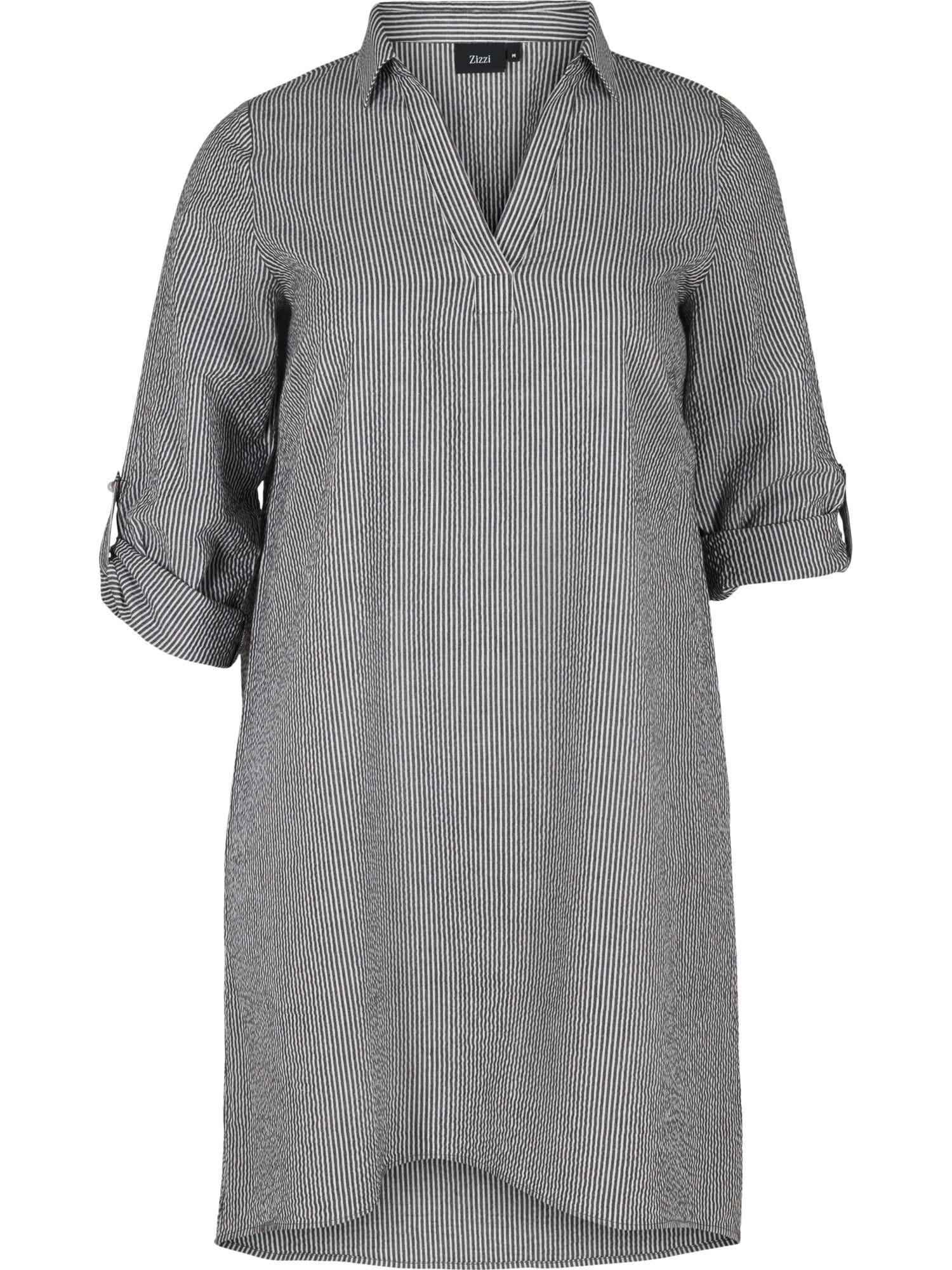 Zizzi Košilové šaty 'Mlene'  černá / bílá