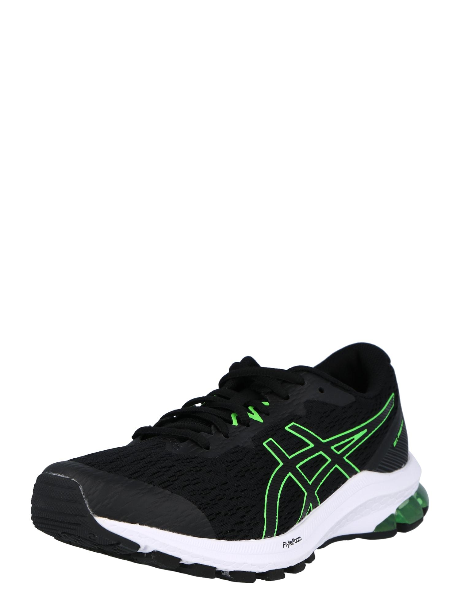 ASICS Bėgimo batai juoda / neoninė žalia