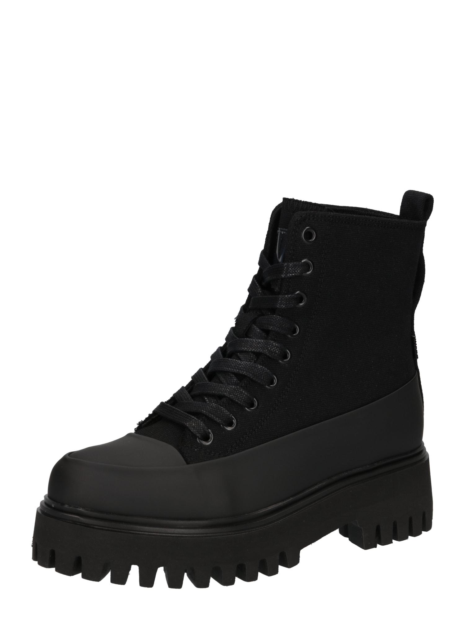 BRONX Suvarstomieji kulkšnis dengiantys batai juoda