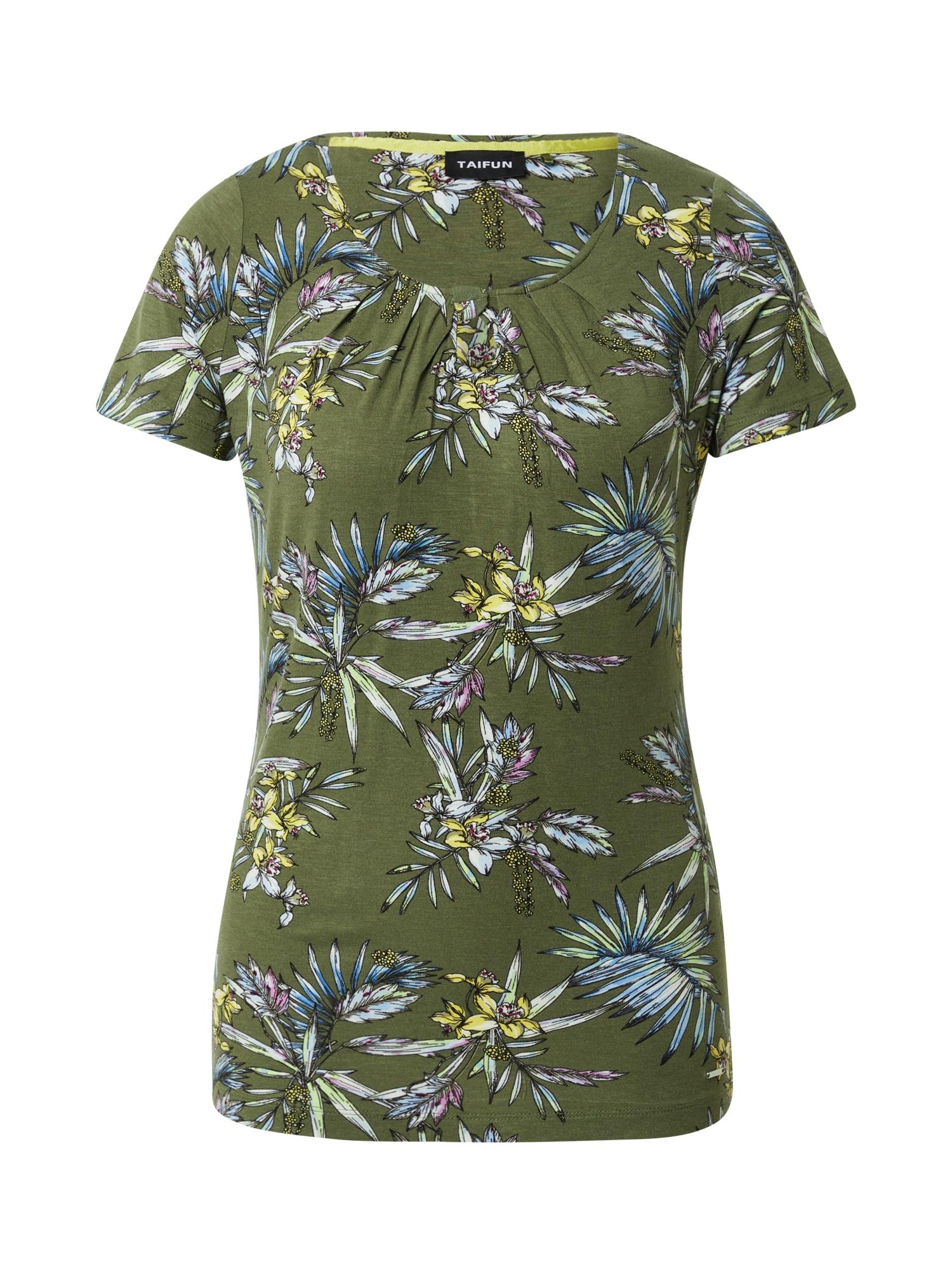 TAIFUN Marškinėliai alyvuogių spalva / balta / pastelinė žalia / dangaus žydra / orchidėjų spalva