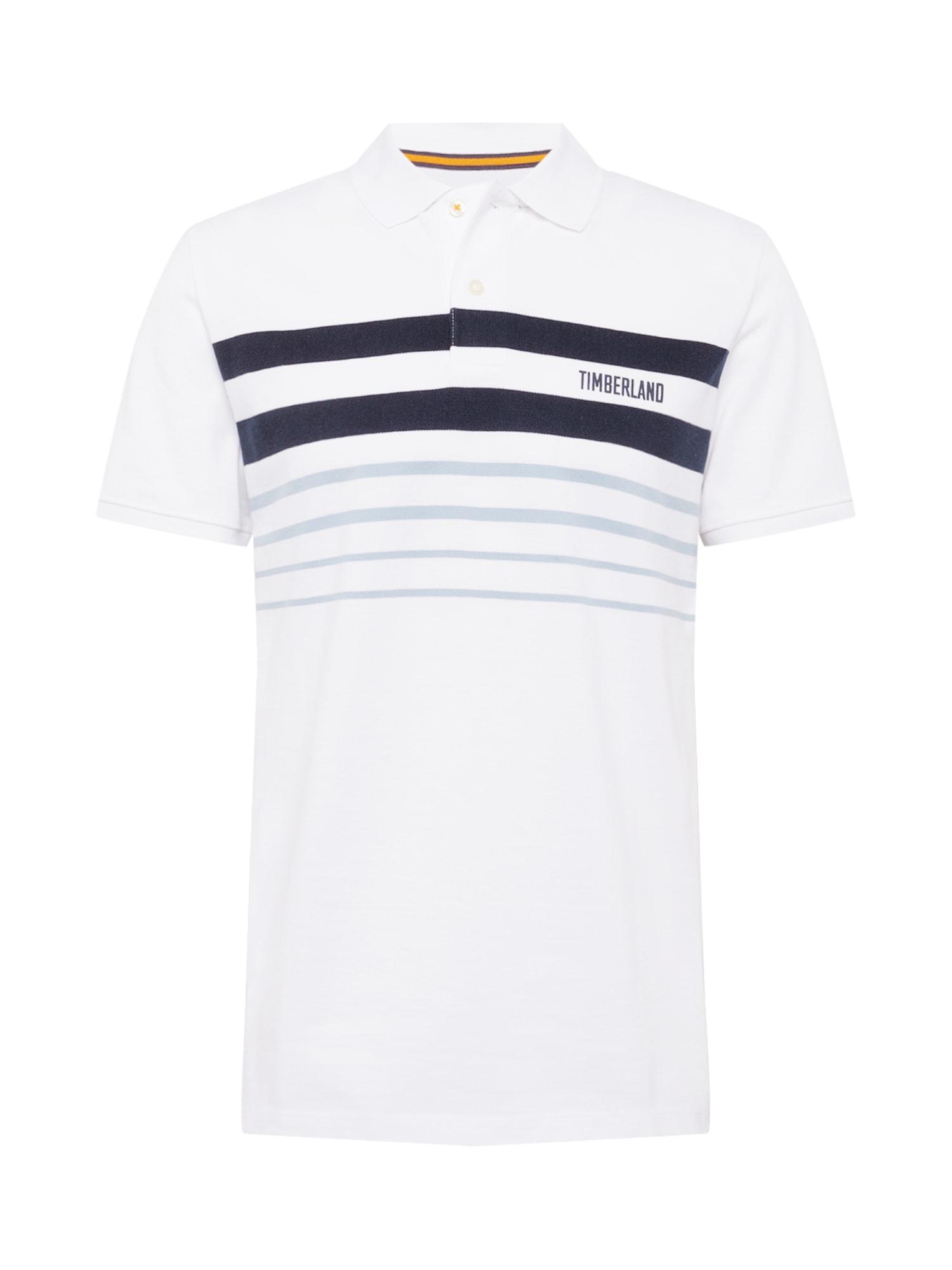 TIMBERLAND Marškinėliai balta / tamsiai mėlyna / mėlyna dūmų spalva