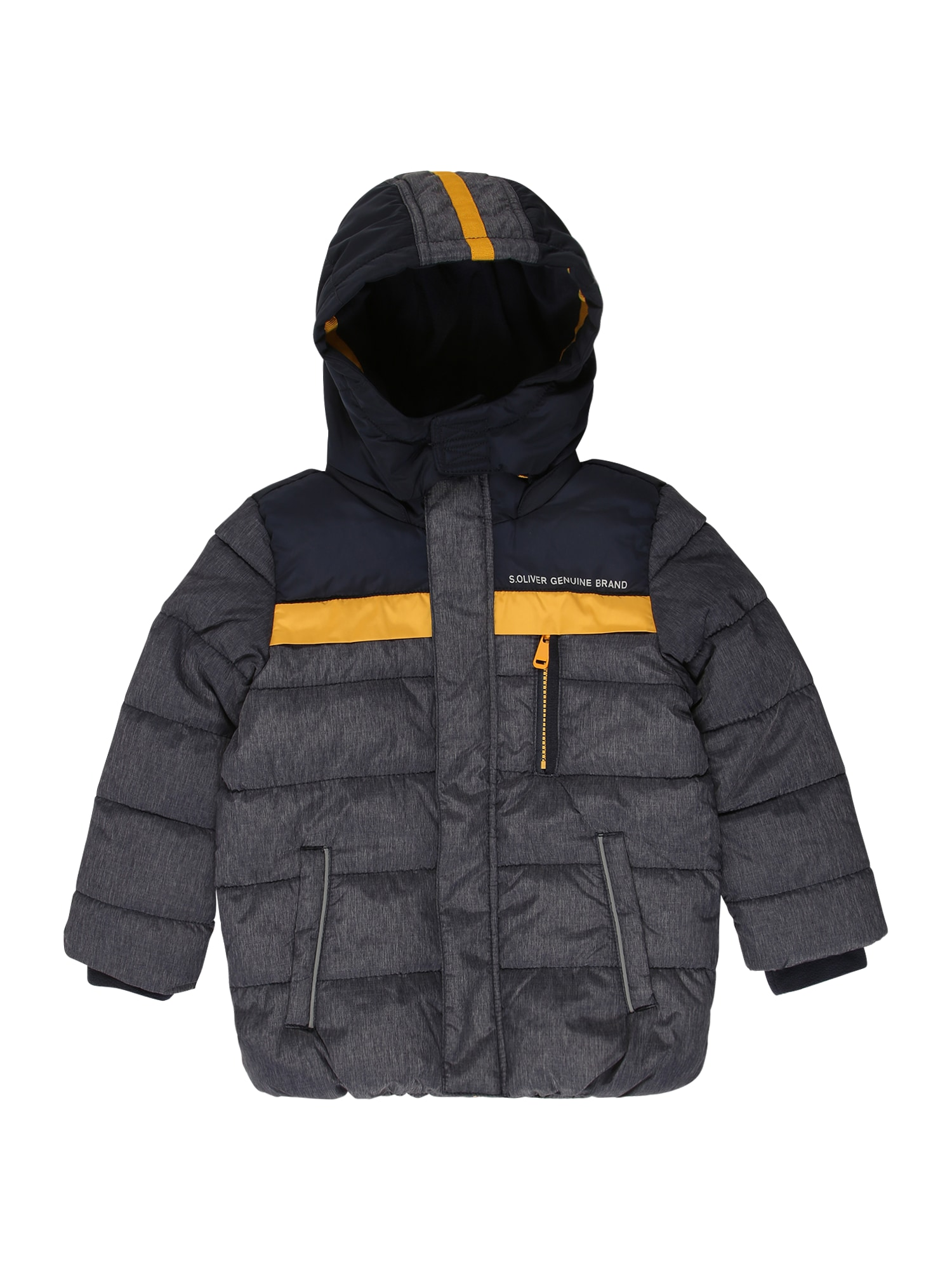 s.Oliver Junior Zimní bunda  šedý melír / tmavě modrá / žlutá