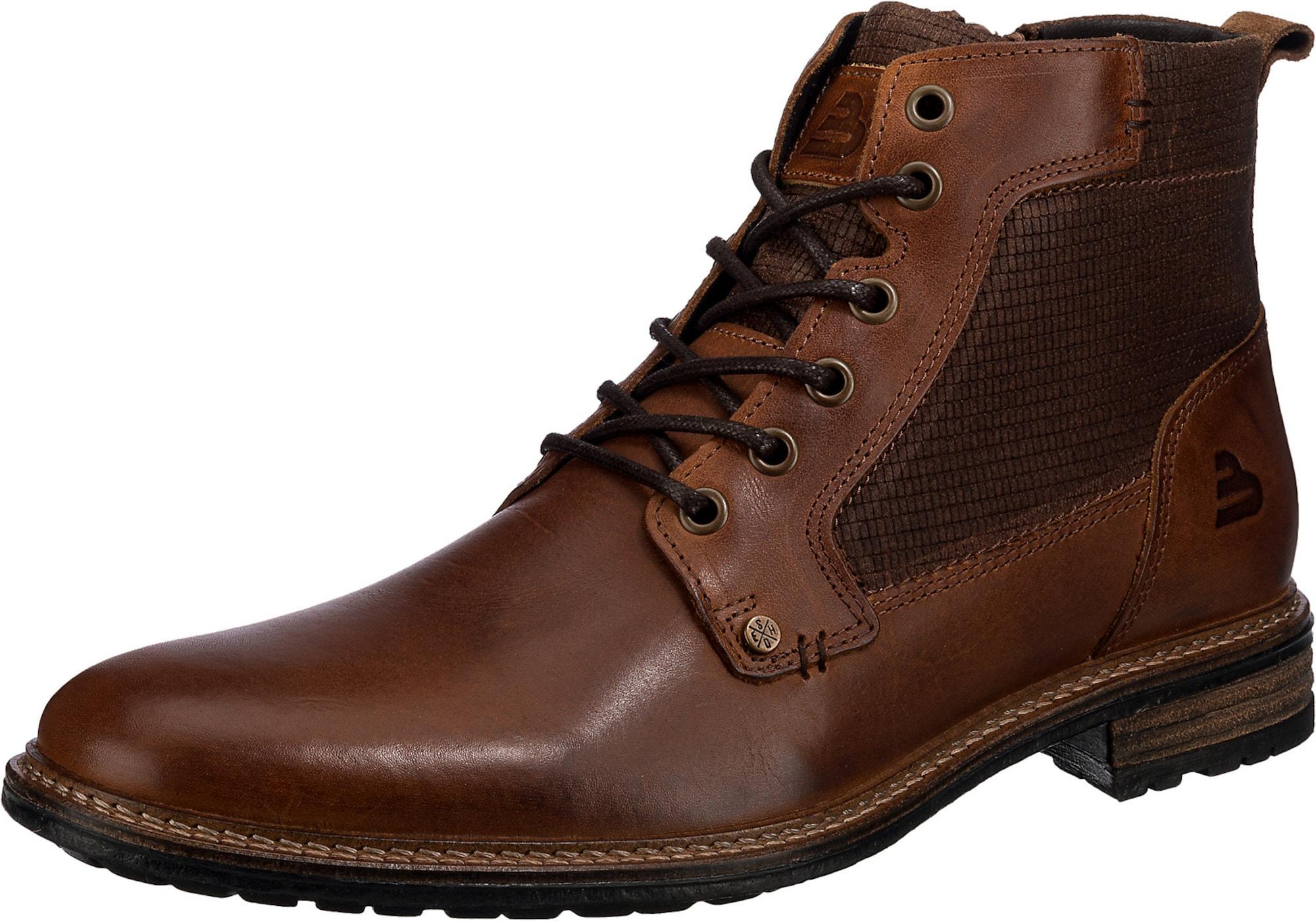 BULLBOXER Auliniai batai su raišteliais šviesiai ruda / brokato spalva