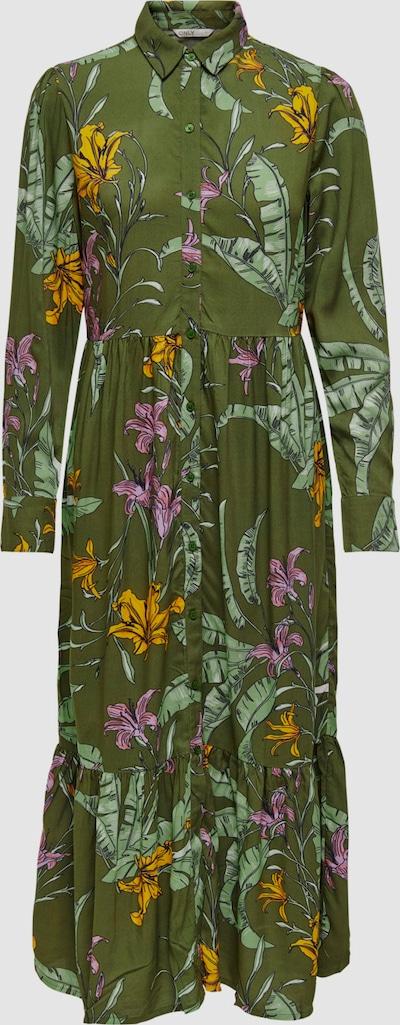 Only Palm Life Hemdkleid in Midilänge mit Blumendruck und langen Ärmeln