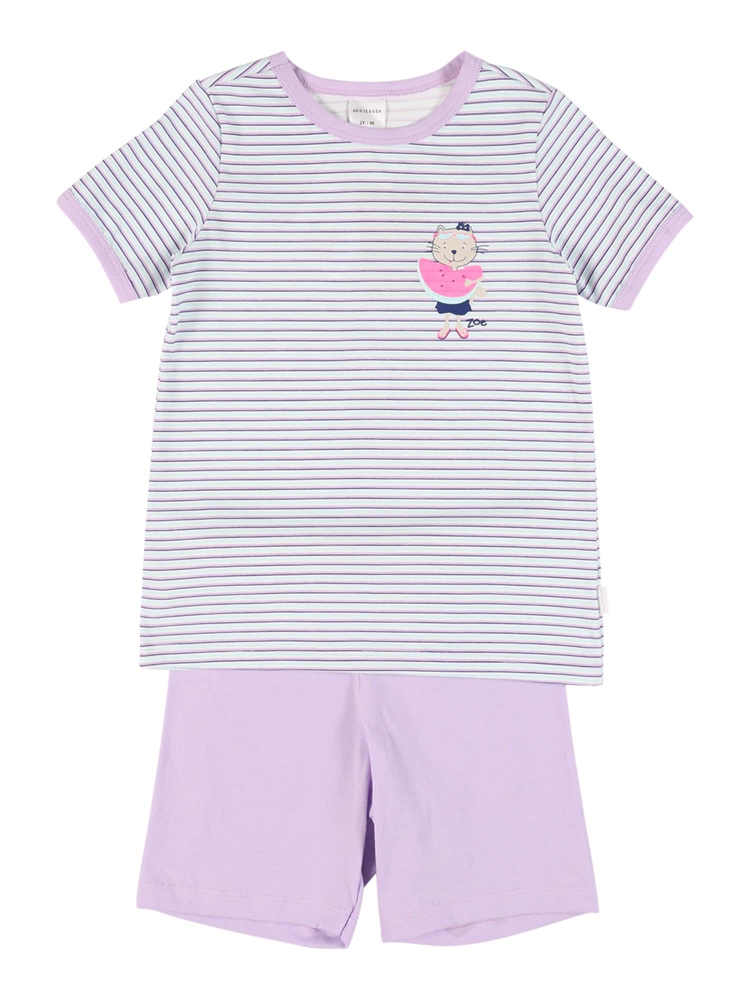 SCHIESSER Miego kostiumas mėtų spalva / balta / šviesiai violetinė / rožinė / tamsiai mėlyna