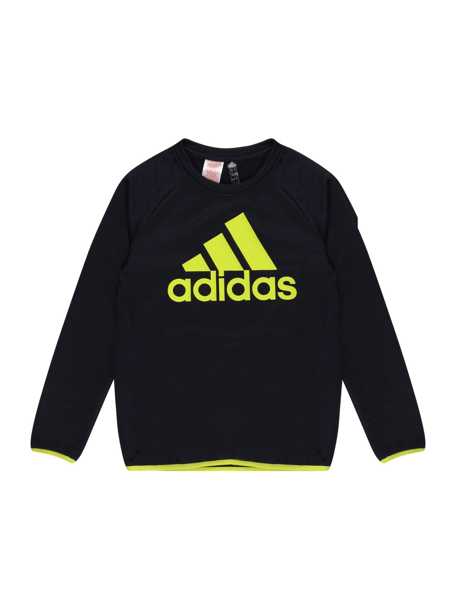 ADIDAS PERFORMANCE Sportinio tipo megztinis juoda / geltona