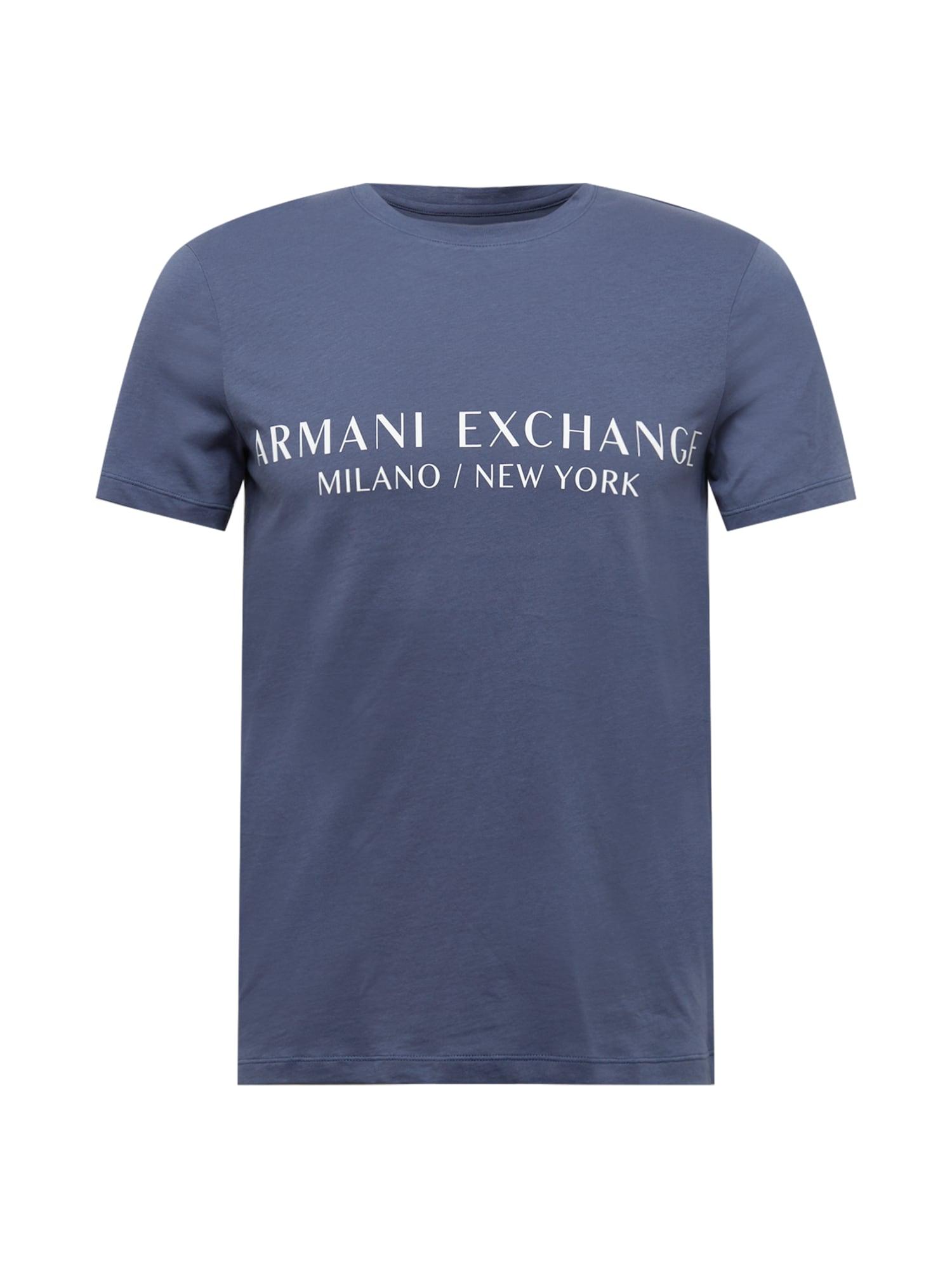 ARMANI EXCHANGE Tričko  marine modrá / bílá