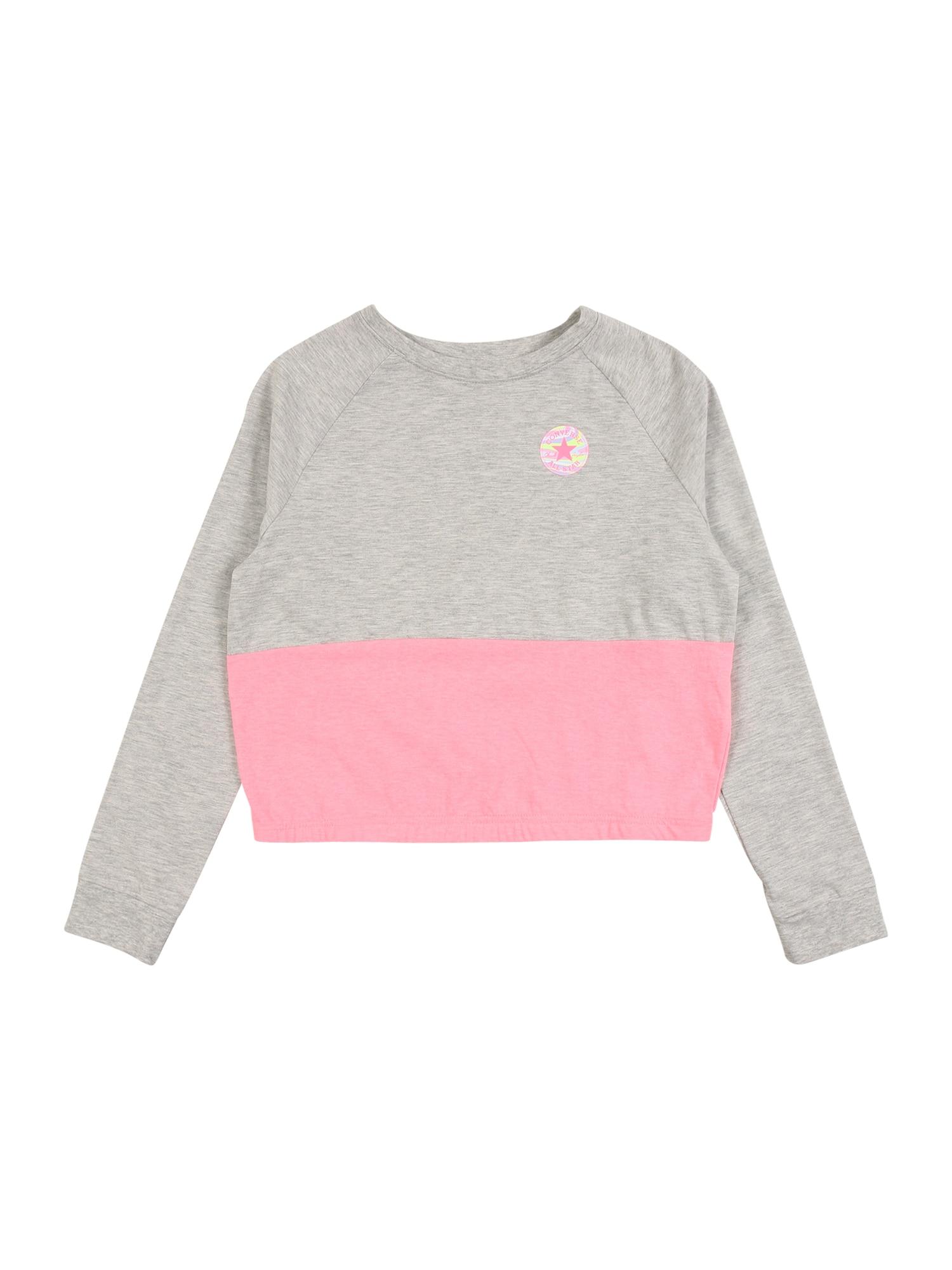 CONVERSE Tričko  šedá / pink