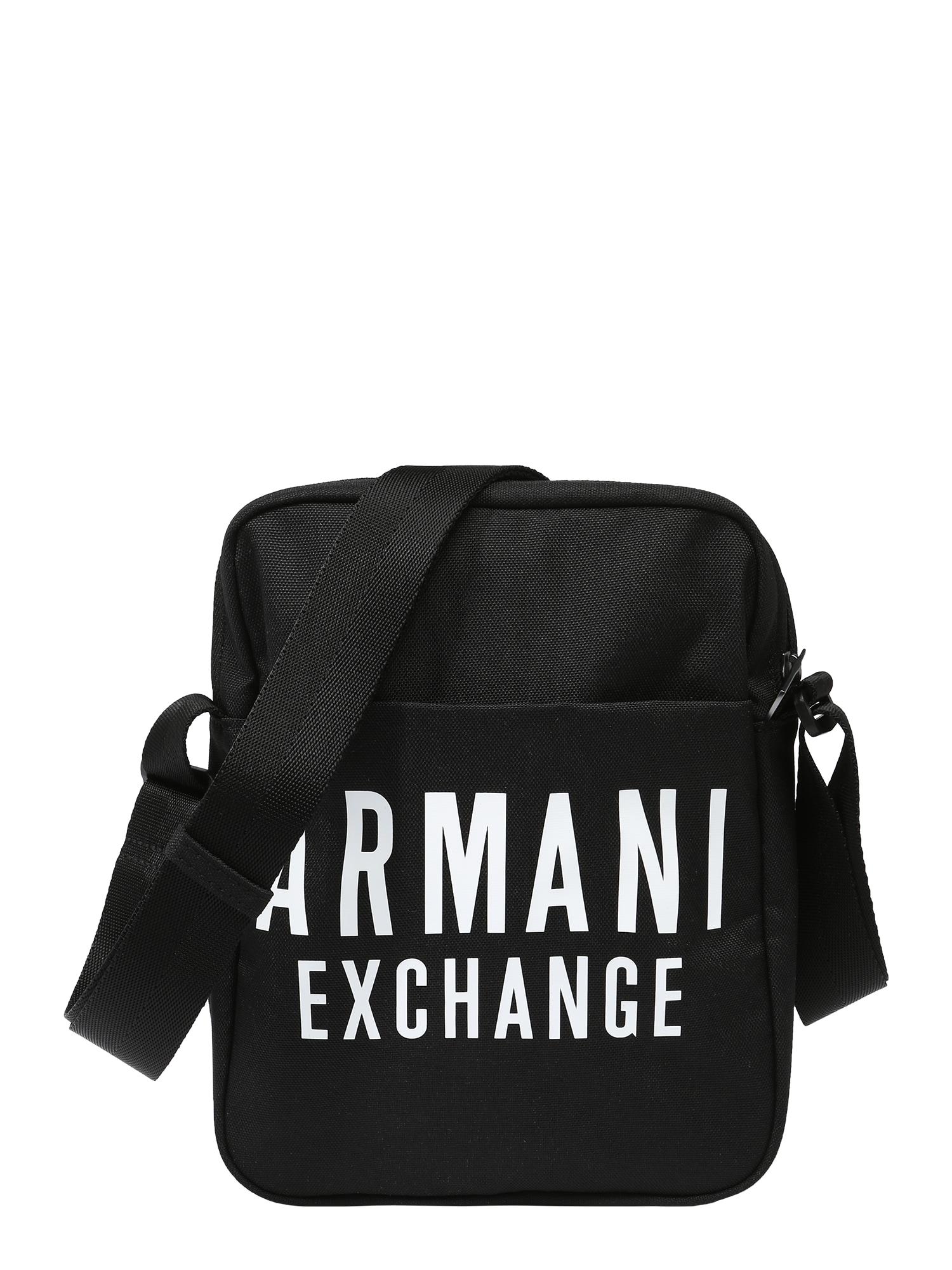 ARMANI EXCHANGE Rankinė su ilgu dirželiu juoda / balta