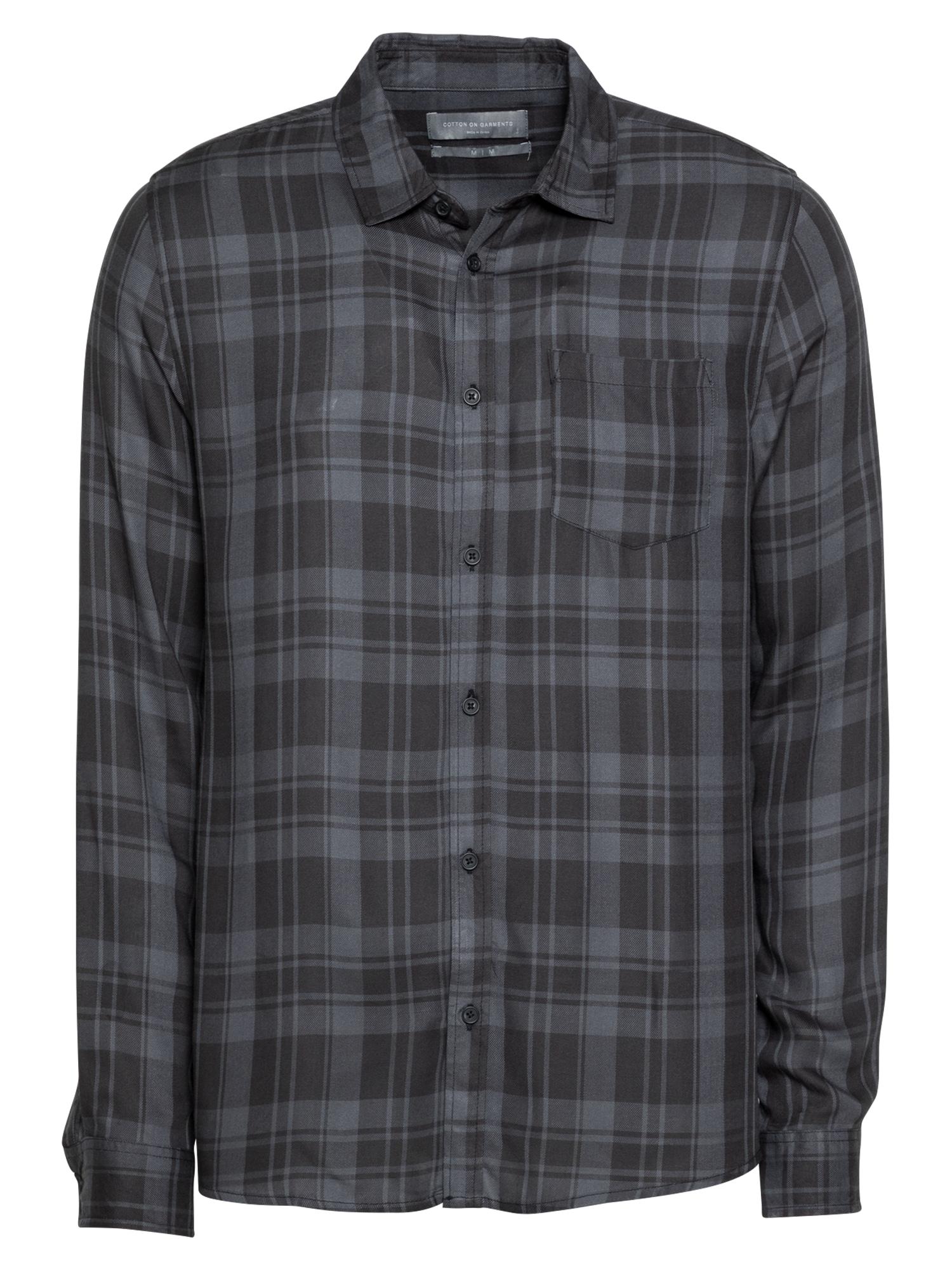 Cotton On Marškiniai juoda / pilka
