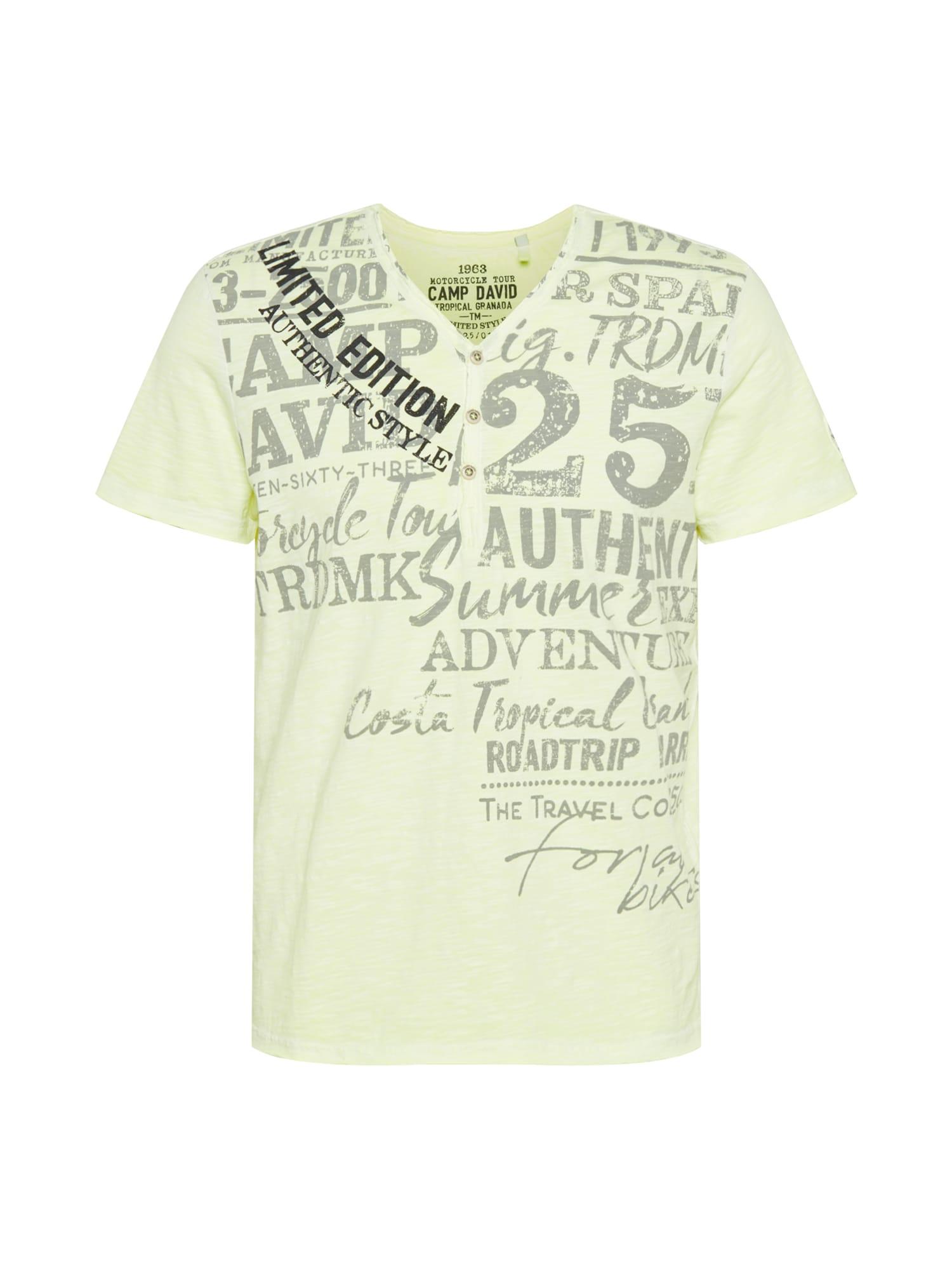 CAMP DAVID Marškinėliai neoninė geltona / juoda / pilka