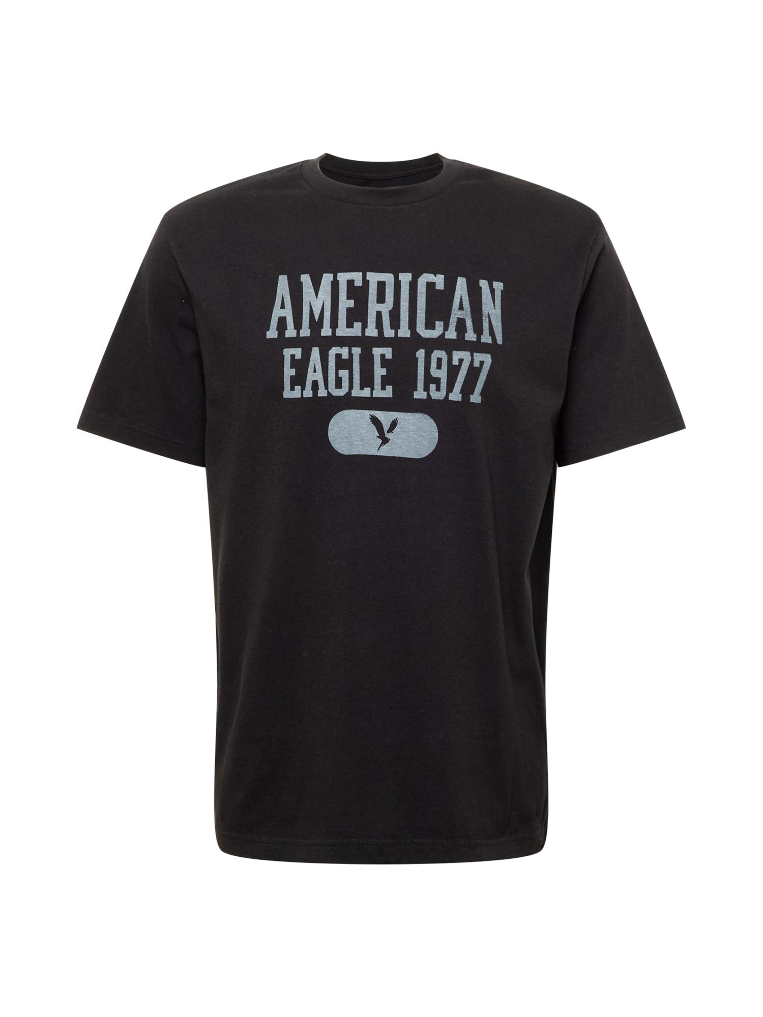 American Eagle Tričko  černá / světle šedá
