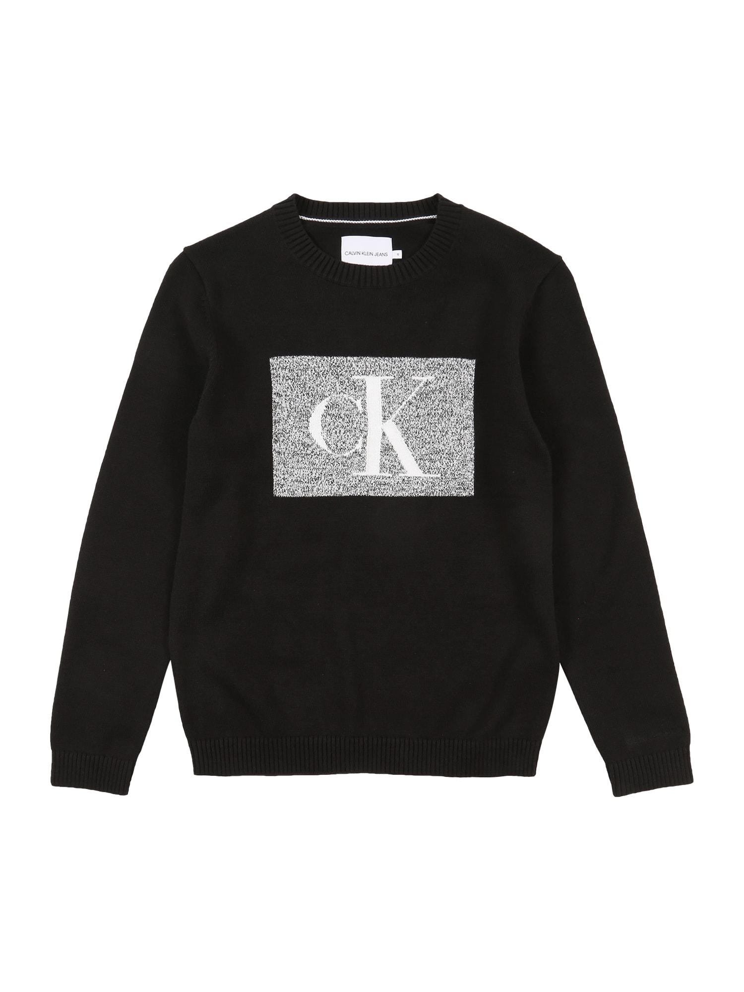 Calvin Klein Jeans Megztinis juoda / margai pilka / balta