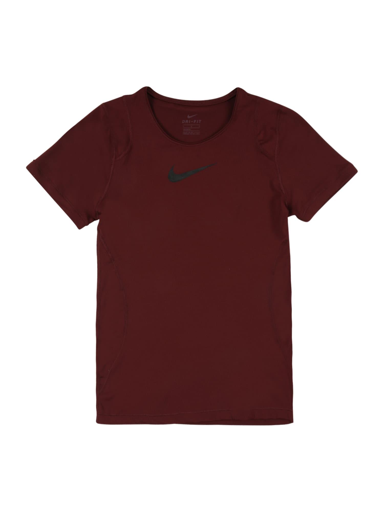 NIKE Sportiniai marškinėliai vyno raudona spalva / juoda