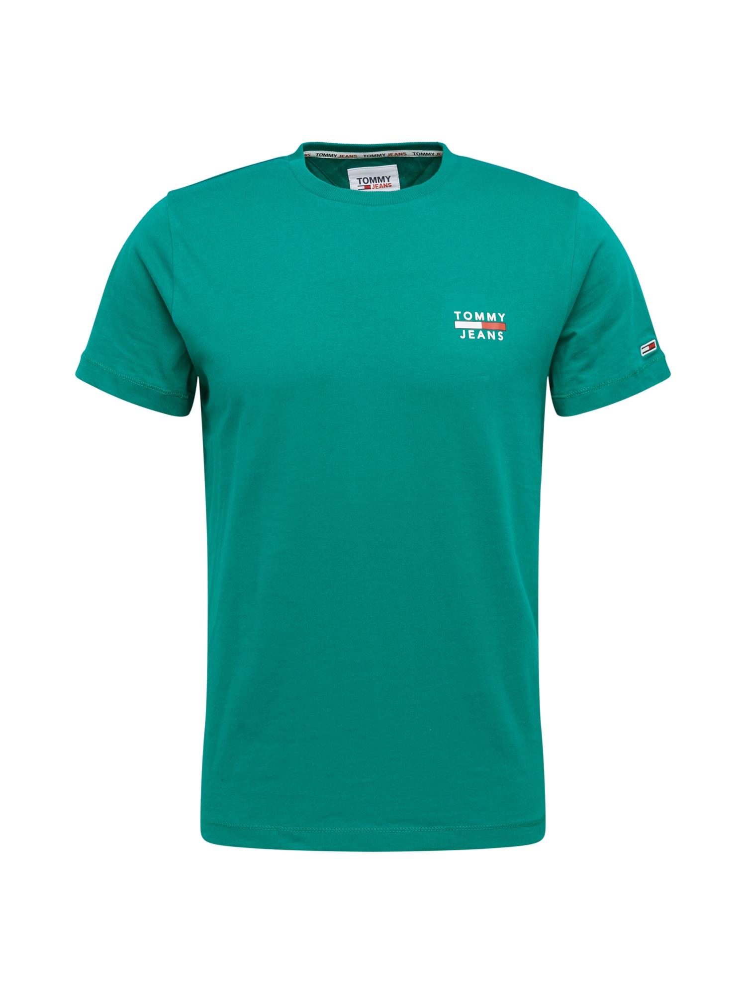 Tommy Jeans Tričko  zelená / bílá / červená
