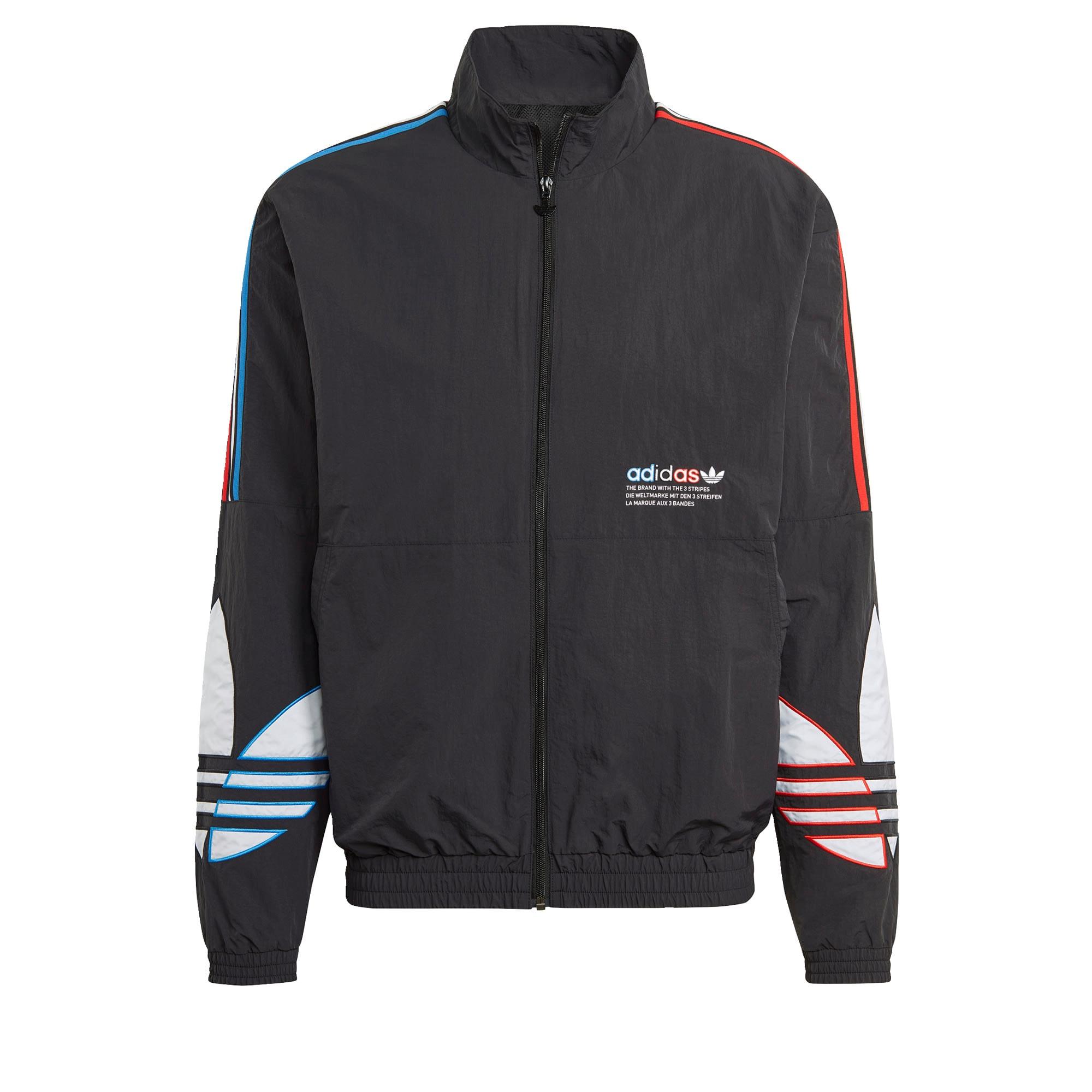 ADIDAS ORIGINALS Demisezoninė striukė juoda / balta / šviesiai mėlyna / šviesiai raudona