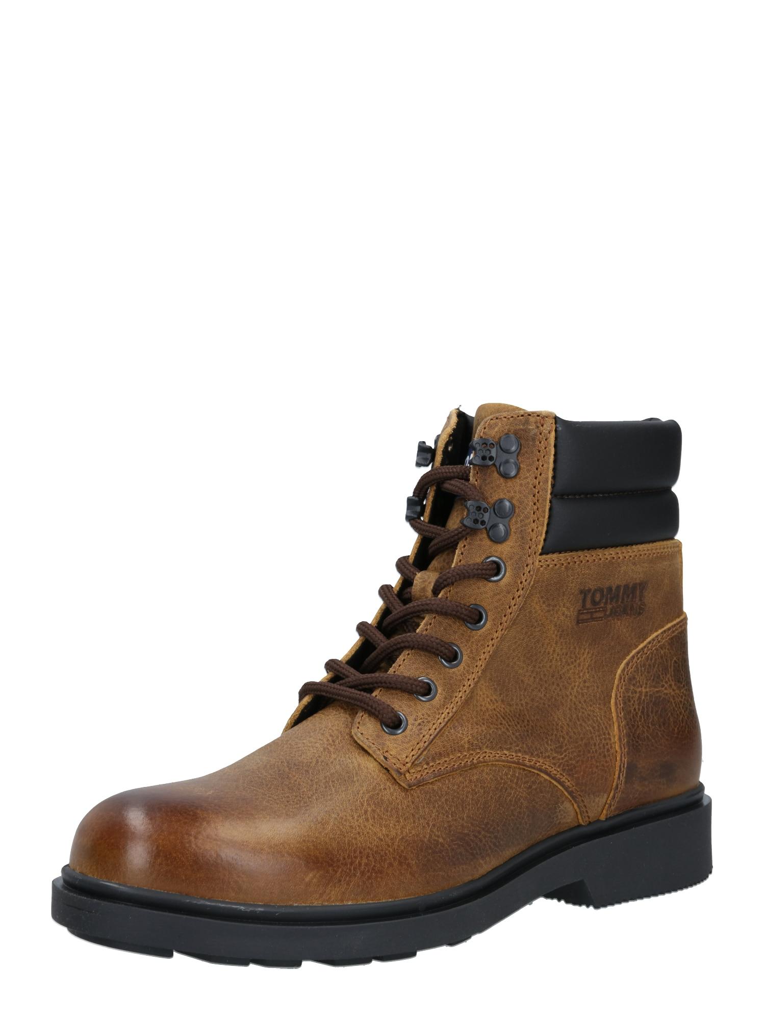 Tommy Jeans Auliniai batai su raišteliais ruda