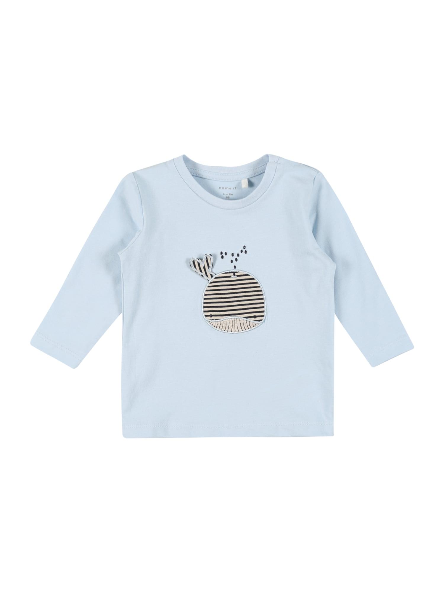 NAME IT Marškinėliai 'FIPOL' šviesiai mėlyna / ultramarino mėlyna (skaidri) / glaisto spalva