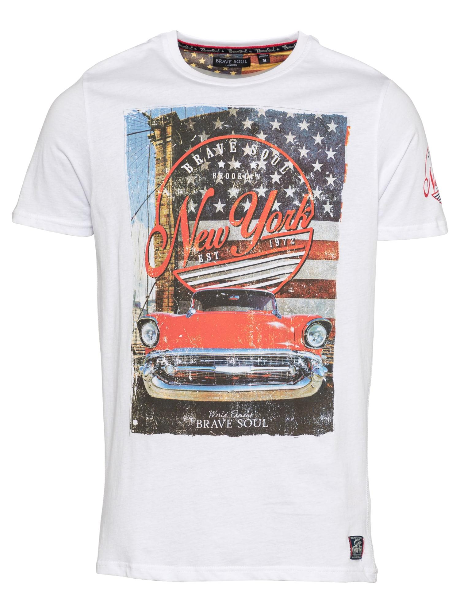 BRAVE SOUL Marškinėliai balta / mėlyna dūmų spalva / šviesiai raudona / medaus spalva / antracito spalva