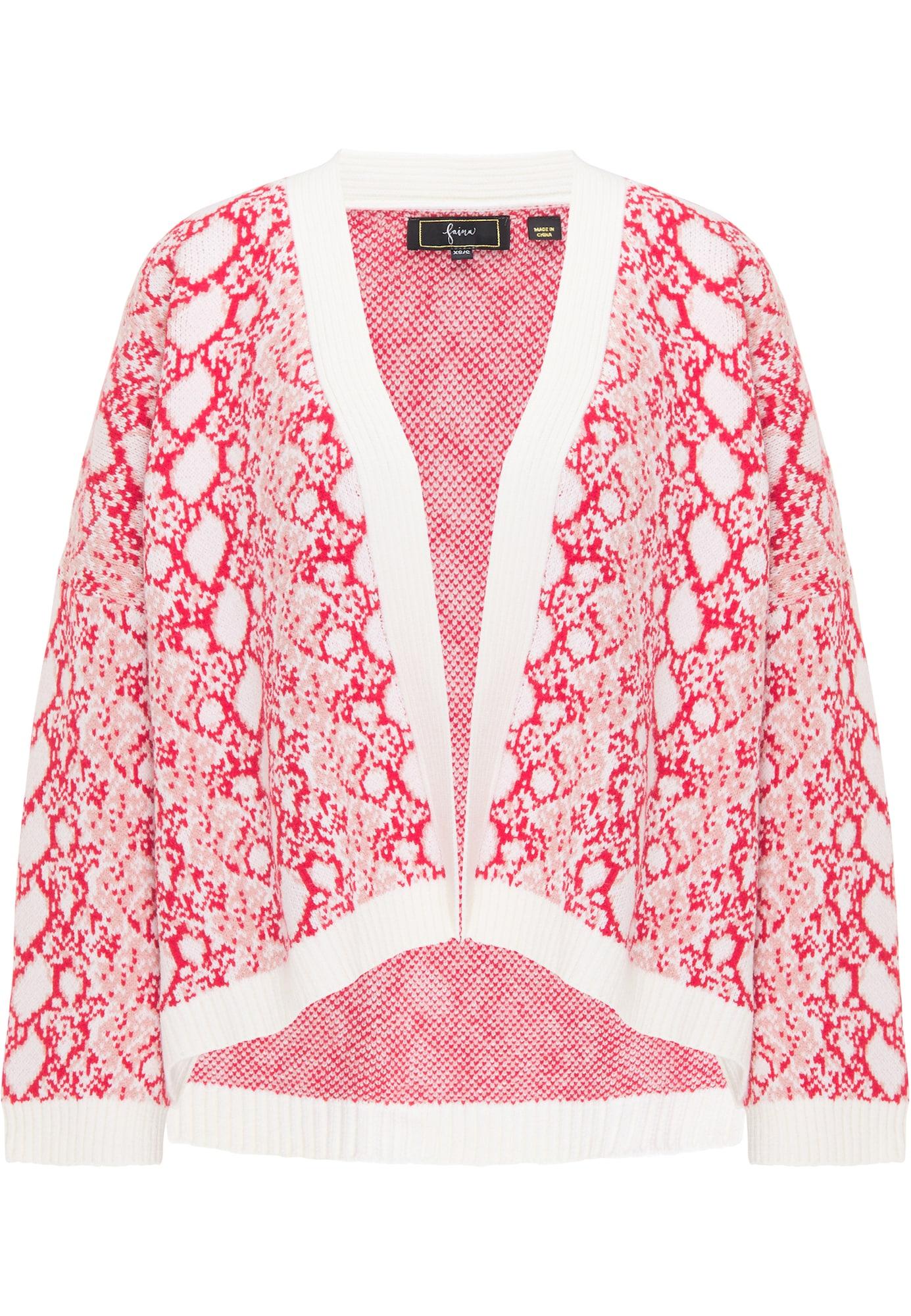 faina Kardiganas ryškiai rožinė spalva / balta / tamsiai rožinė