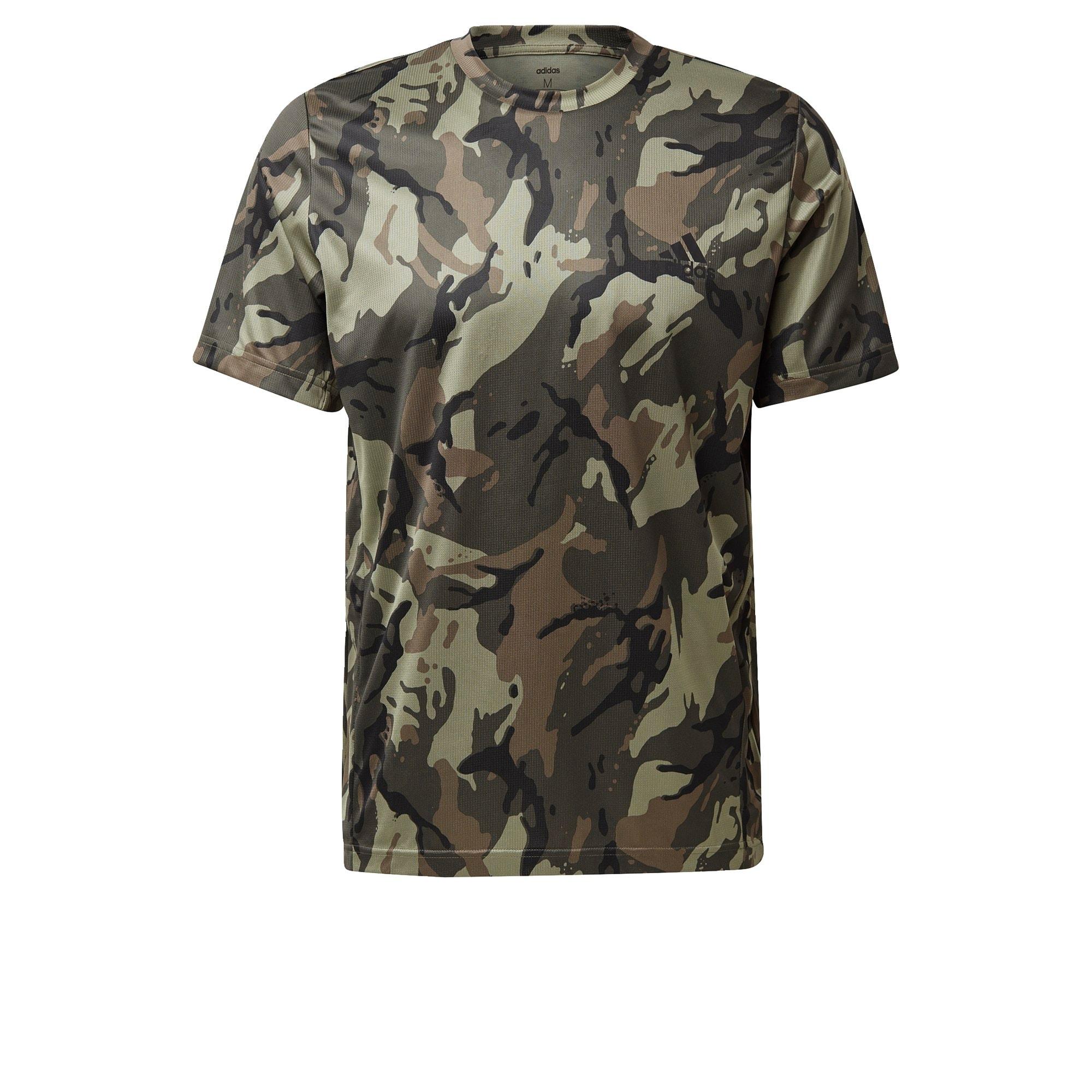 ADIDAS PERFORMANCE Sportiniai marškinėliai šviesiai ruda / juoda / alyvuogių spalva / rusvai žalia