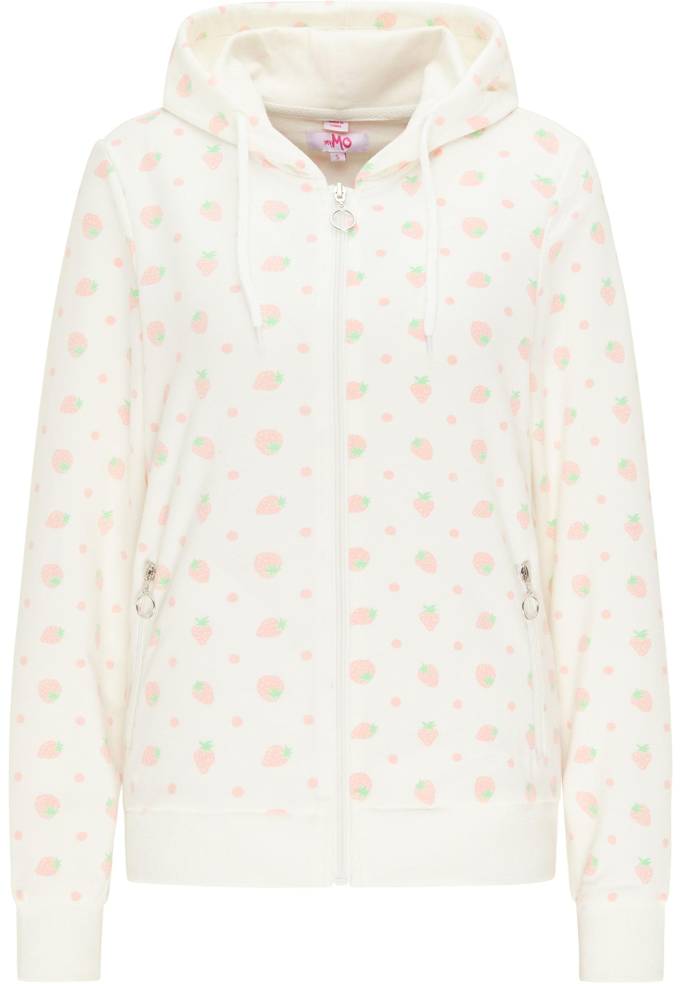 MYMO Džemperis vilnos balta / rožių spalva / šviesiai žalia