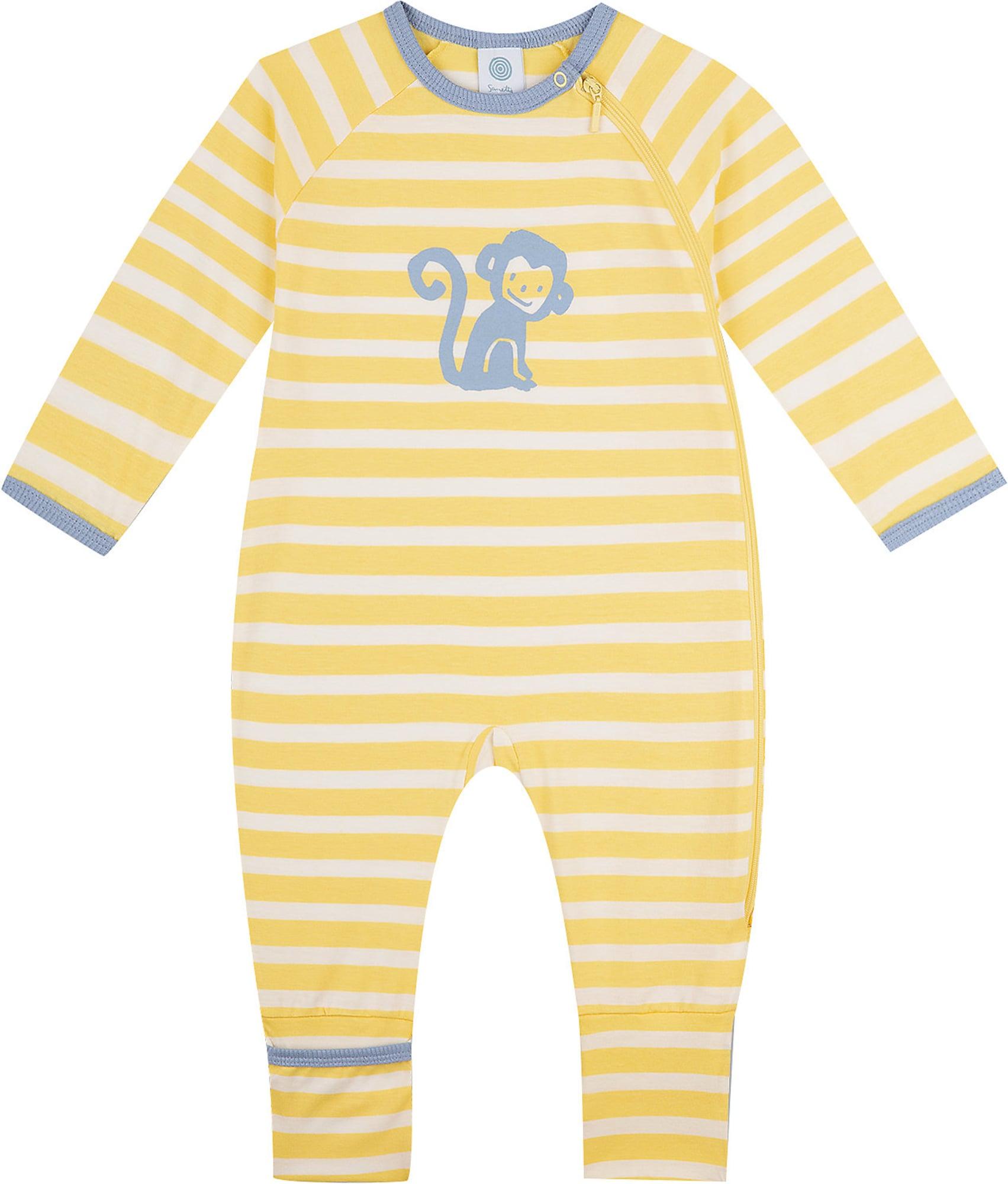 SANETTA Miego kostiumas geltona / balta / melsvai pilka