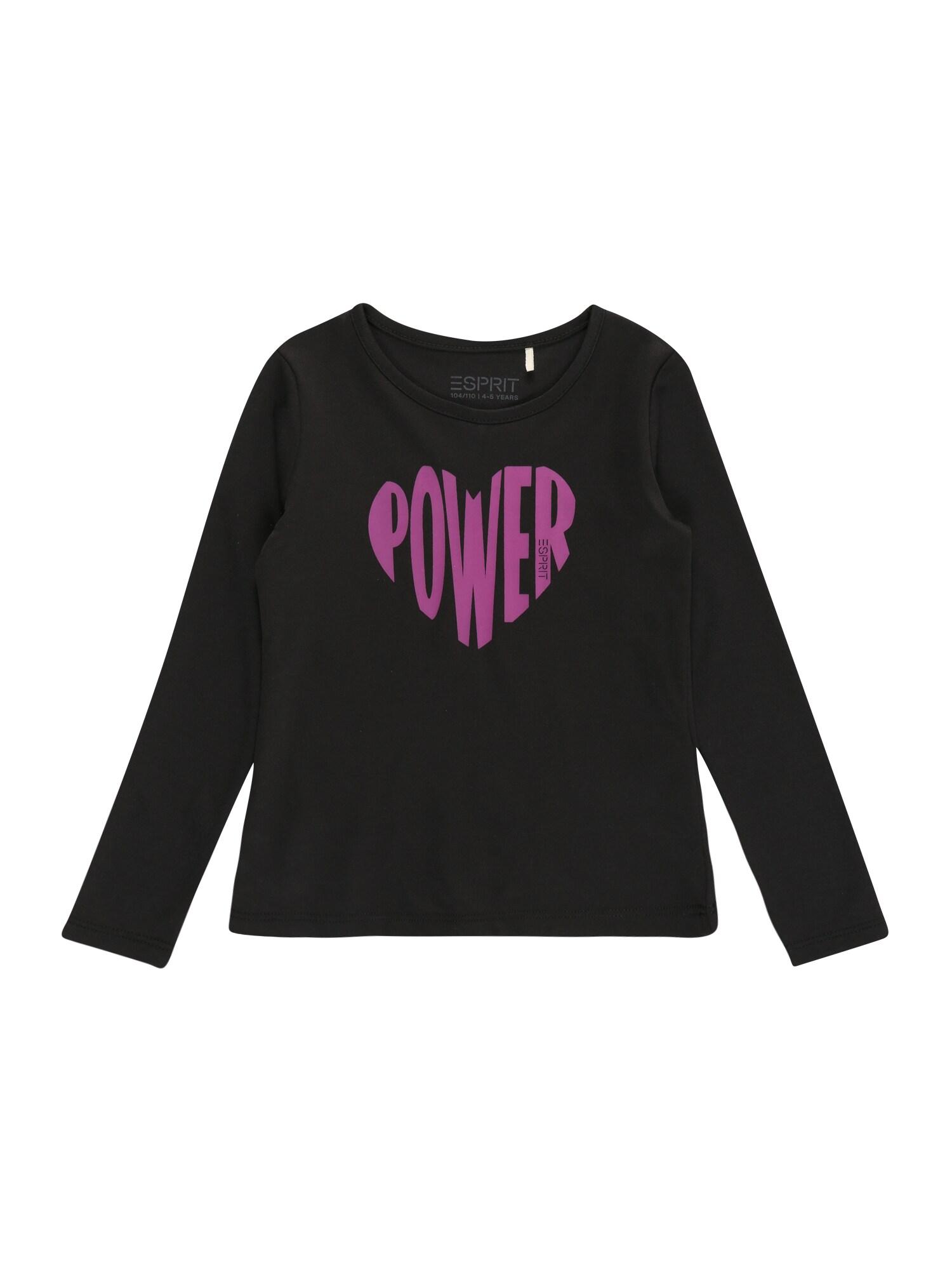 ESPRIT Marškinėliai juoda / purpurinė