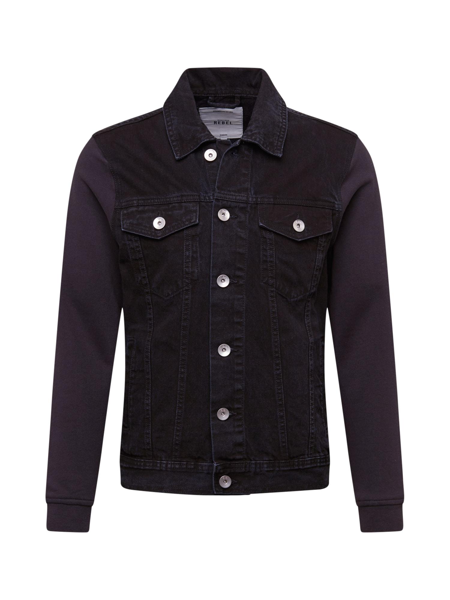 Redefined Rebel Demisezoninė striukė 'Jonah' juodo džinso spalva