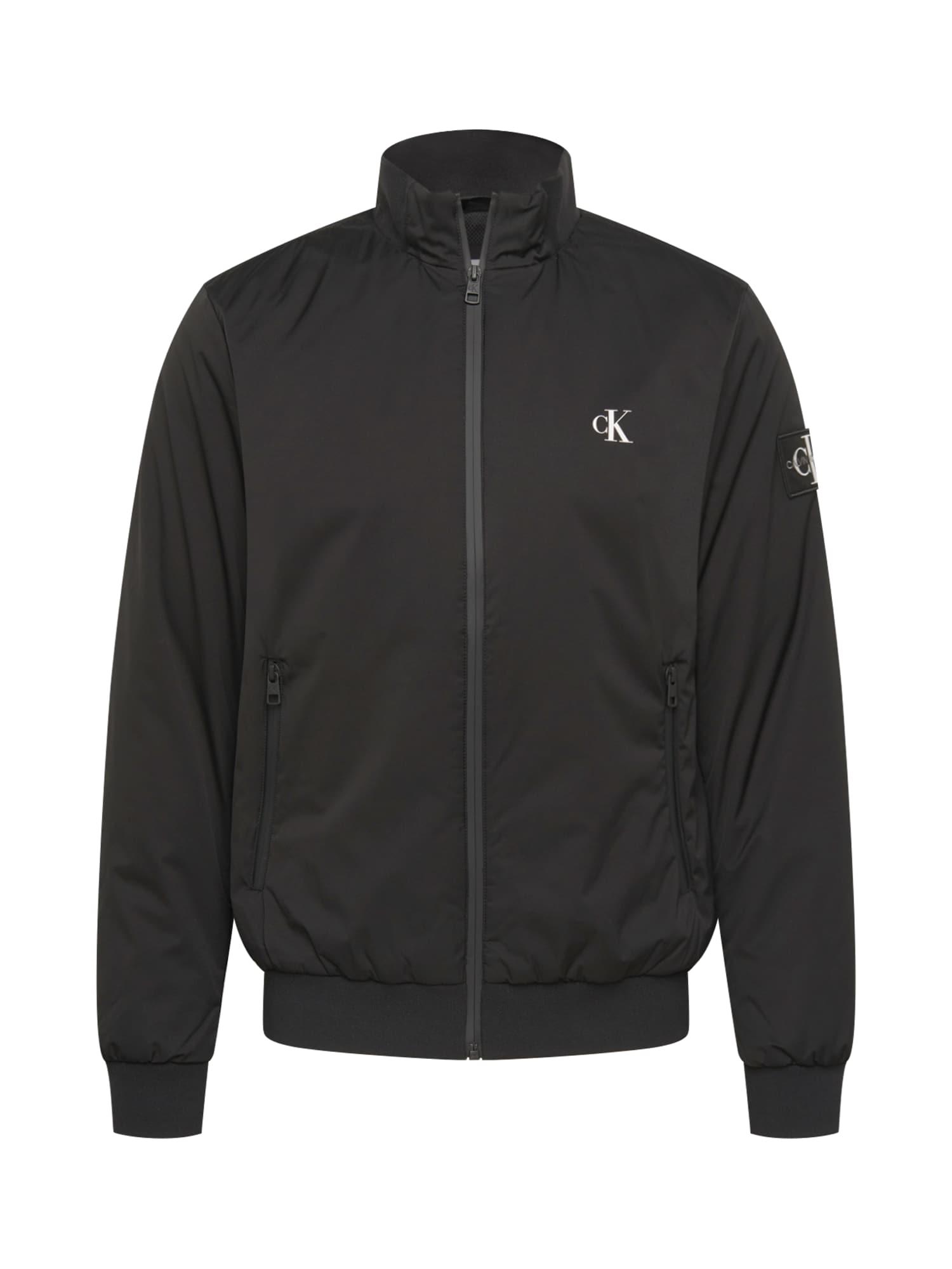 Calvin Klein Jeans Prechodná bunda 'Harrington'  čierna / biela
