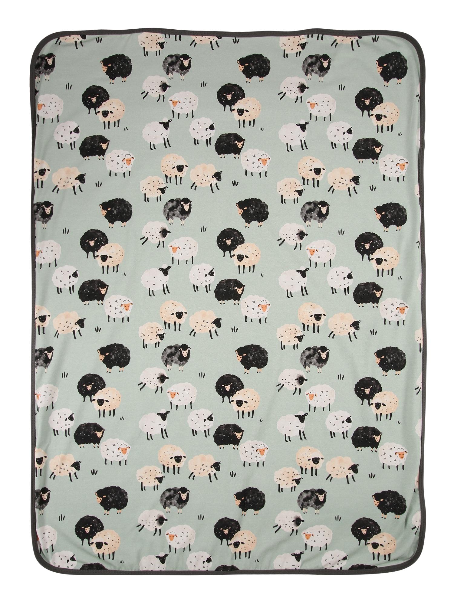 Walkiddy Kūdikio antklodė mėtų spalva / juoda / balta / smėlio spalva / pilka