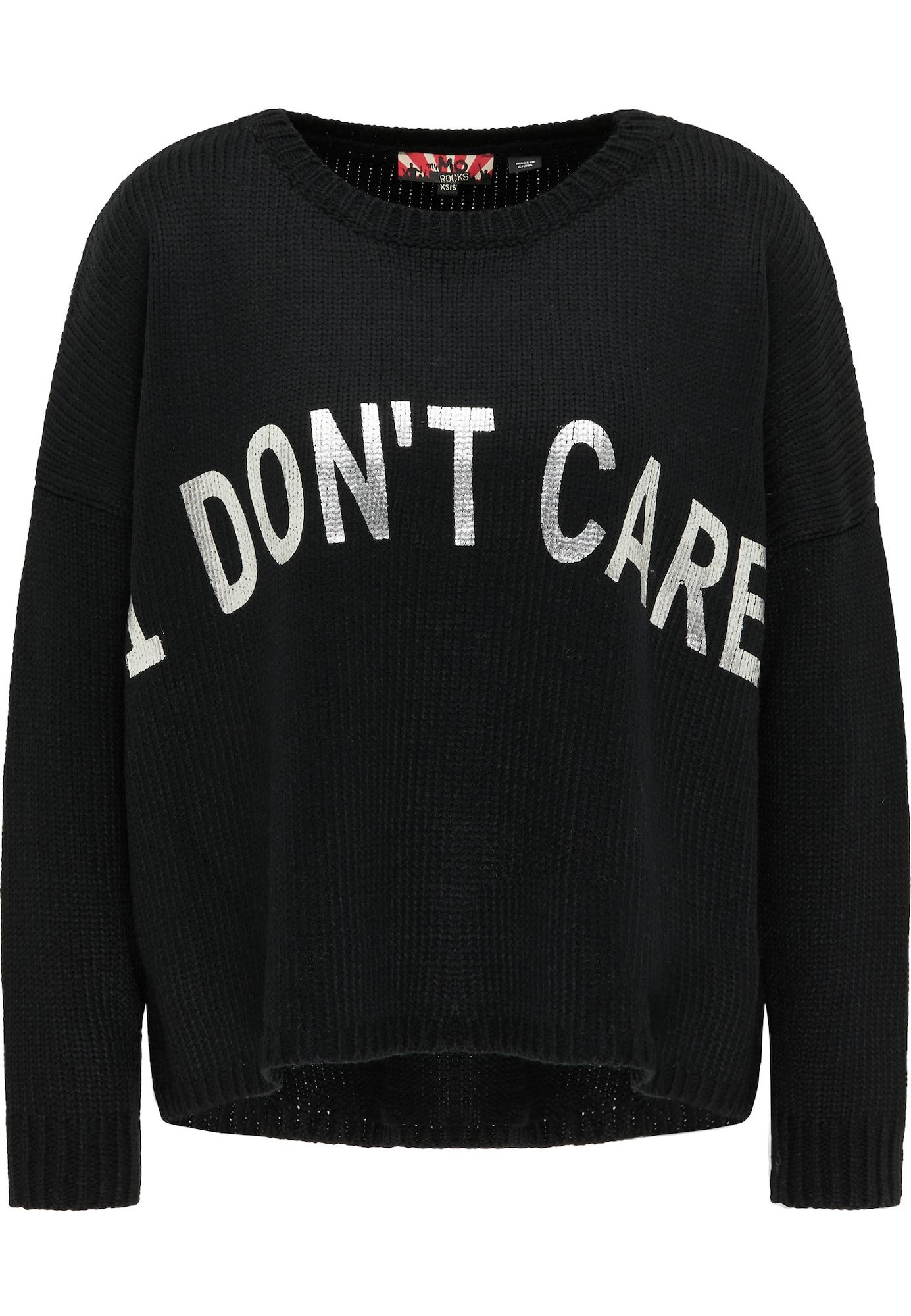 myMo ROCKS Laisvas megztinis juoda / sidabrinė
